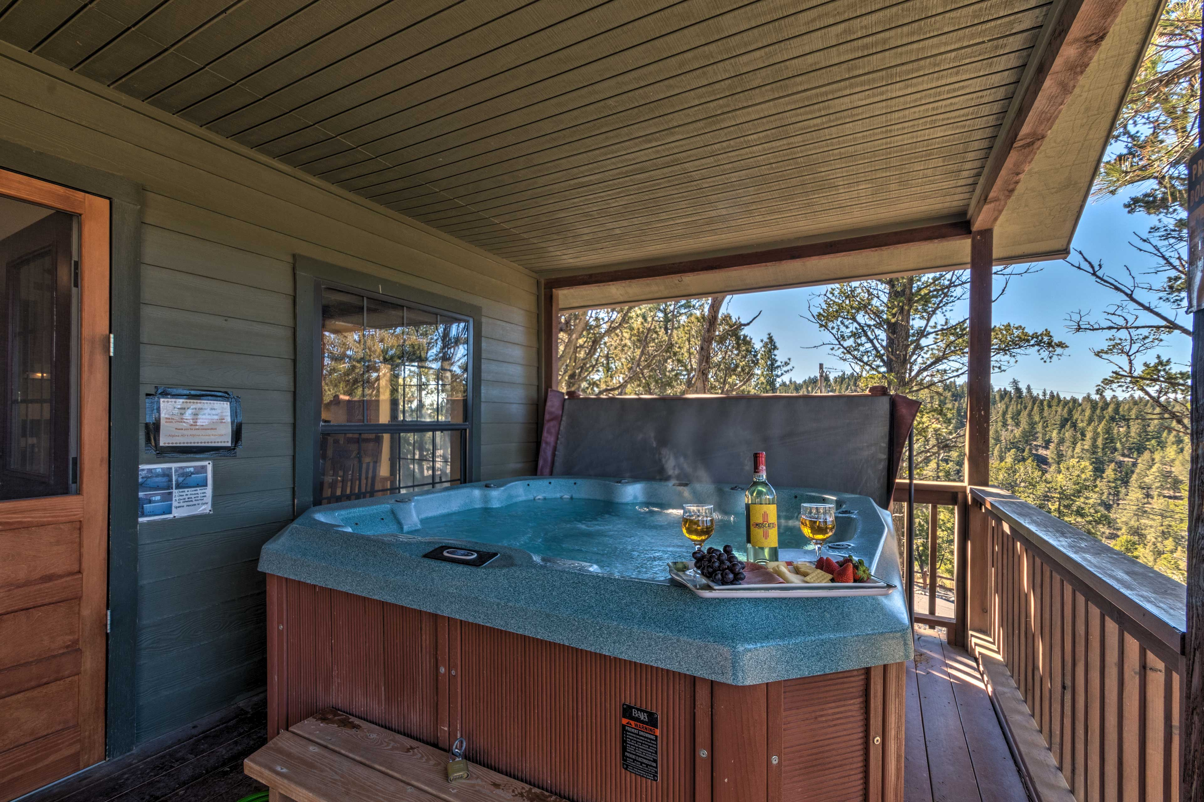 Linger out onto the deck for a soak in the private hot tub.