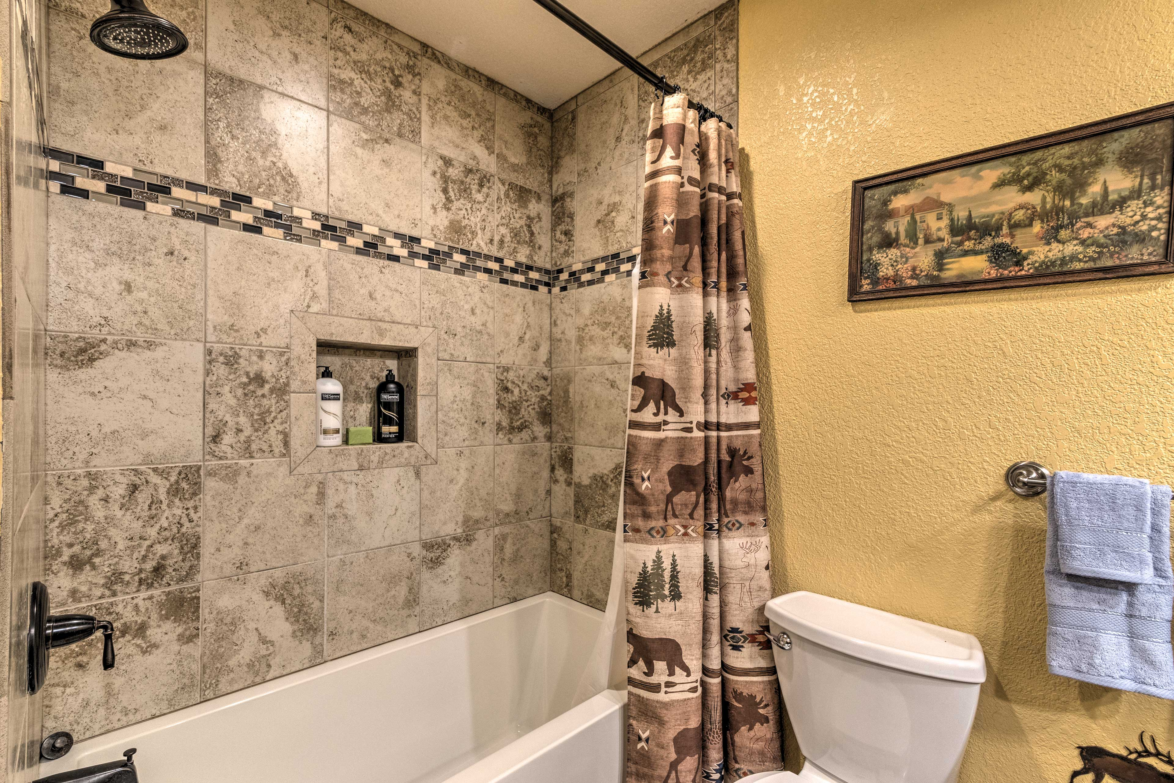 Rinse off in the shower/tub combo before crawling under the covers.