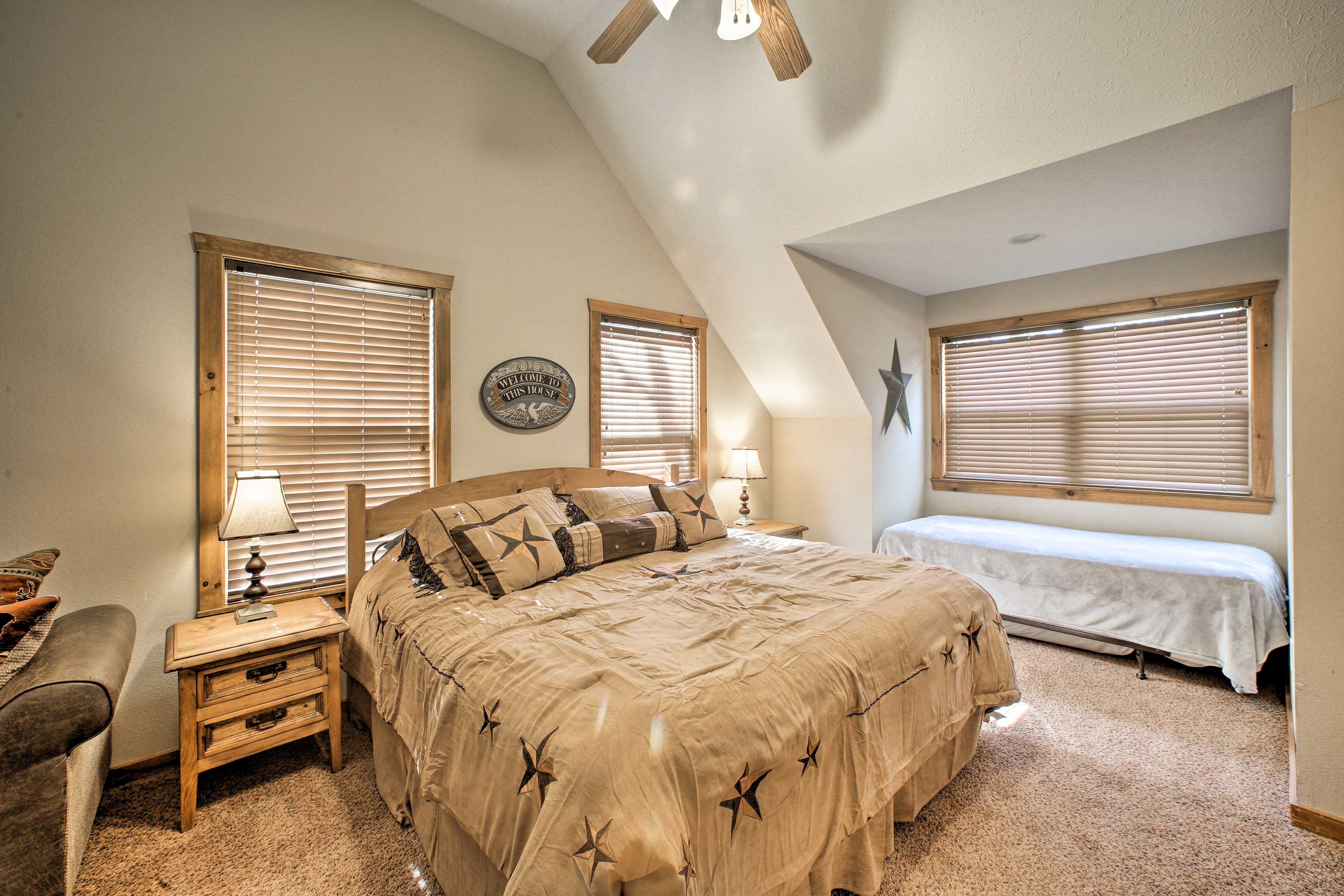The 4th bedroom includes a king bed, twin bed, full sleeper sofa, & a TV!