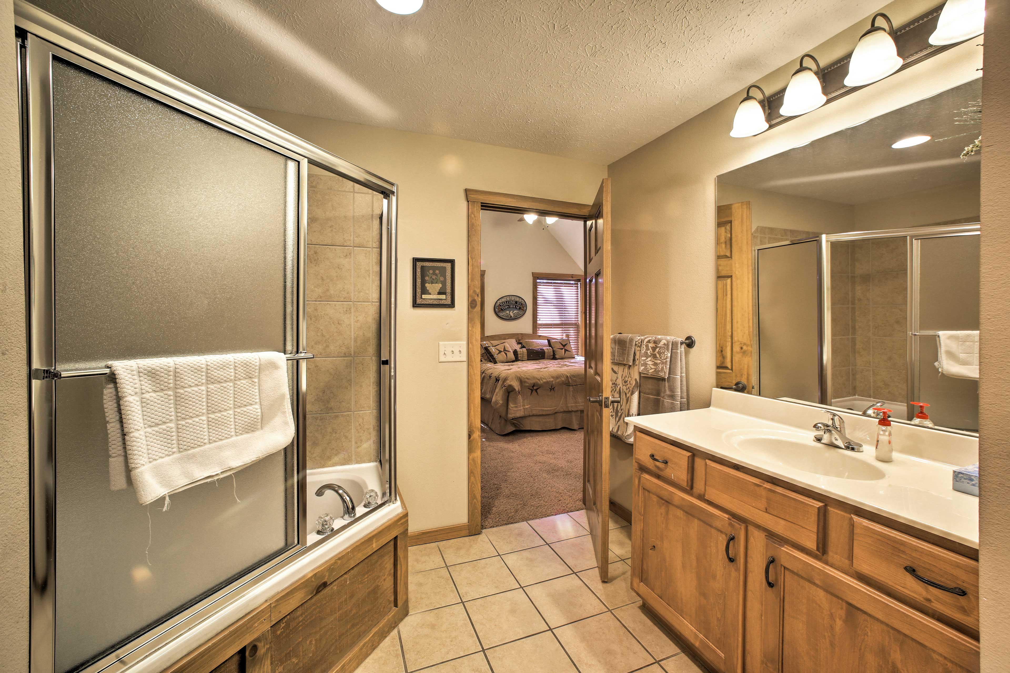Each bathroom is equipped with freshly laundered towels.