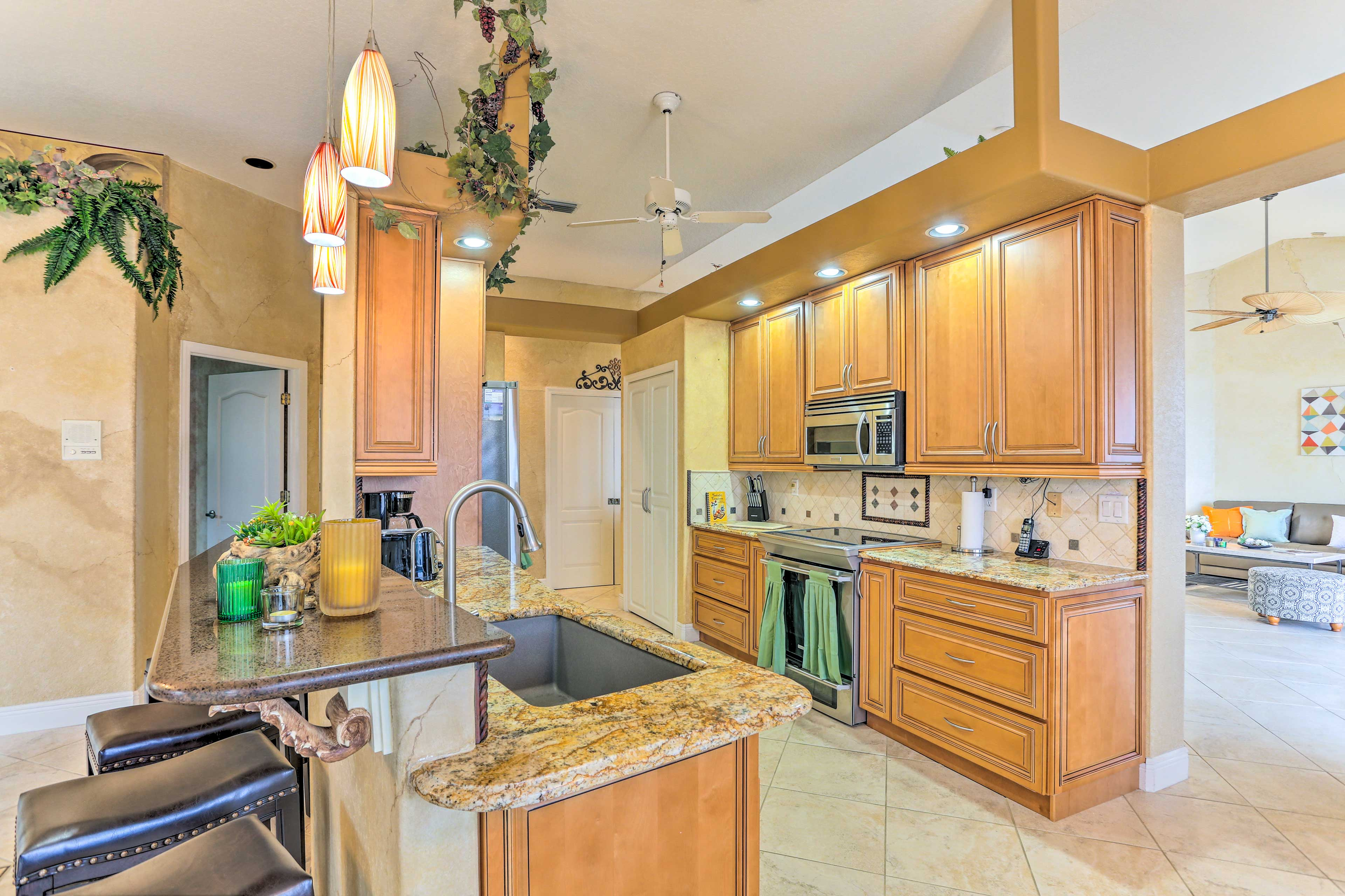 The open, spacious kitchen allows everyone to gather comfortably.