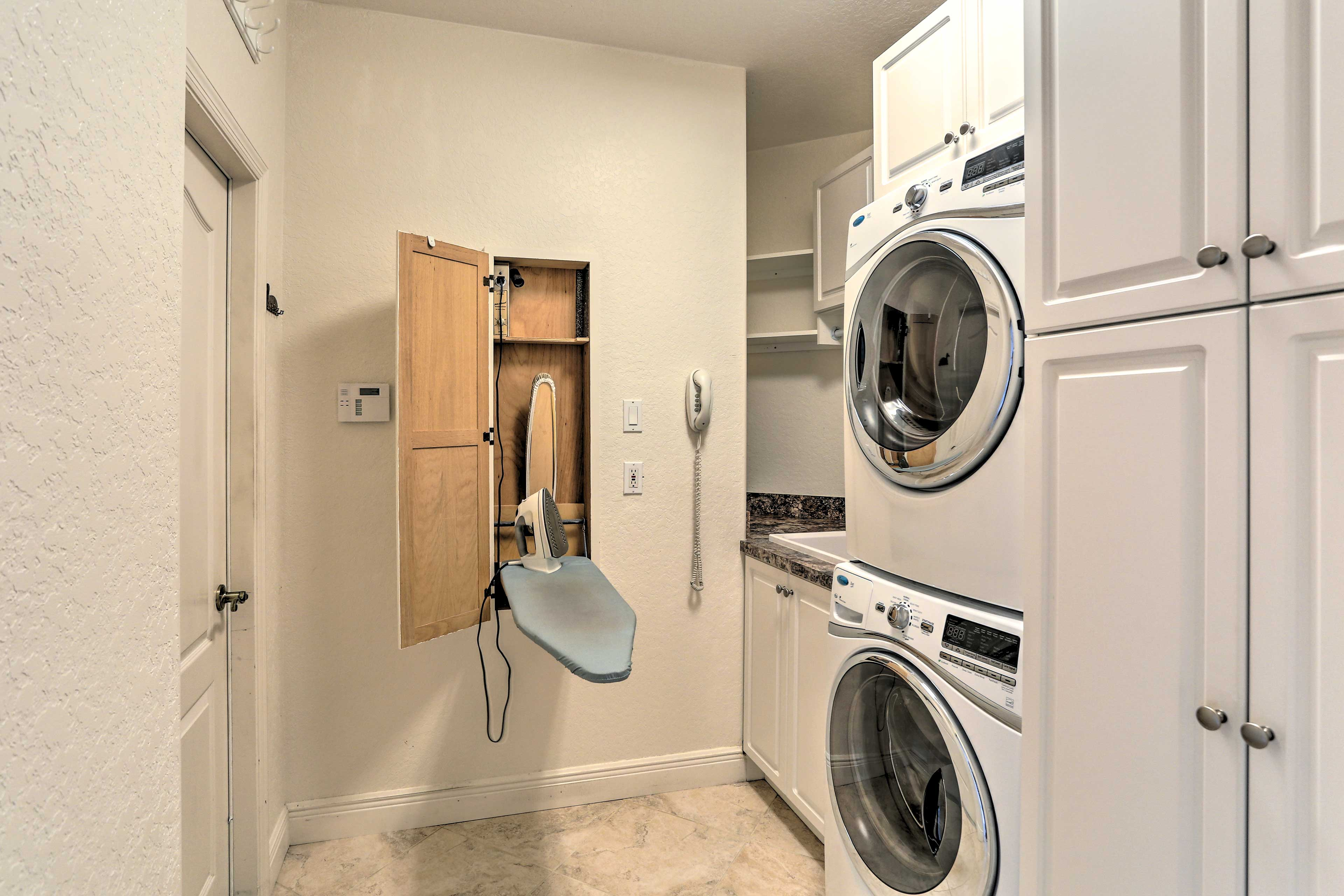 For convenience, guests have access to a washer/dryer and ironing board.