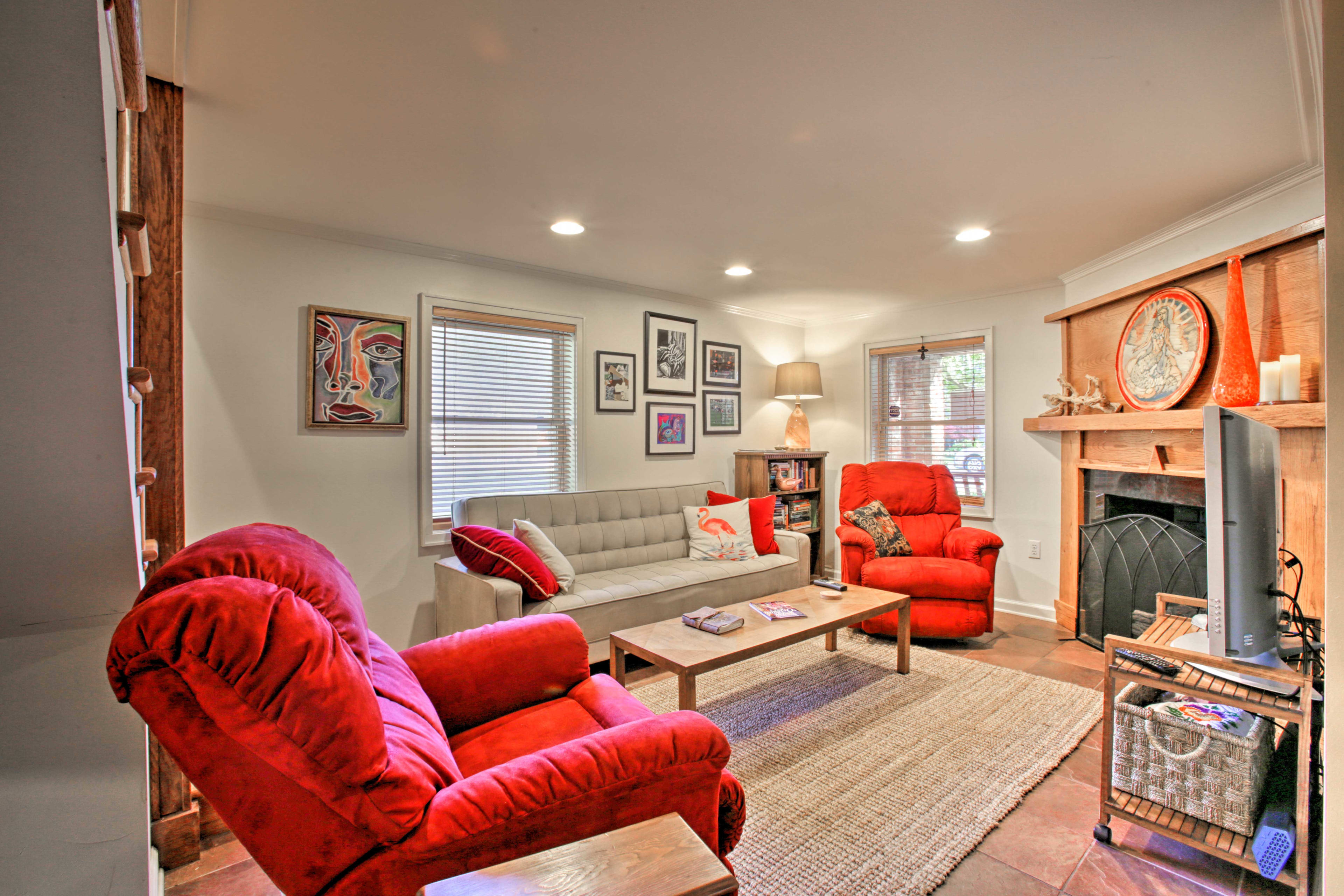 Sink into the living room sofa and enjoy the gas-powered fireplace.