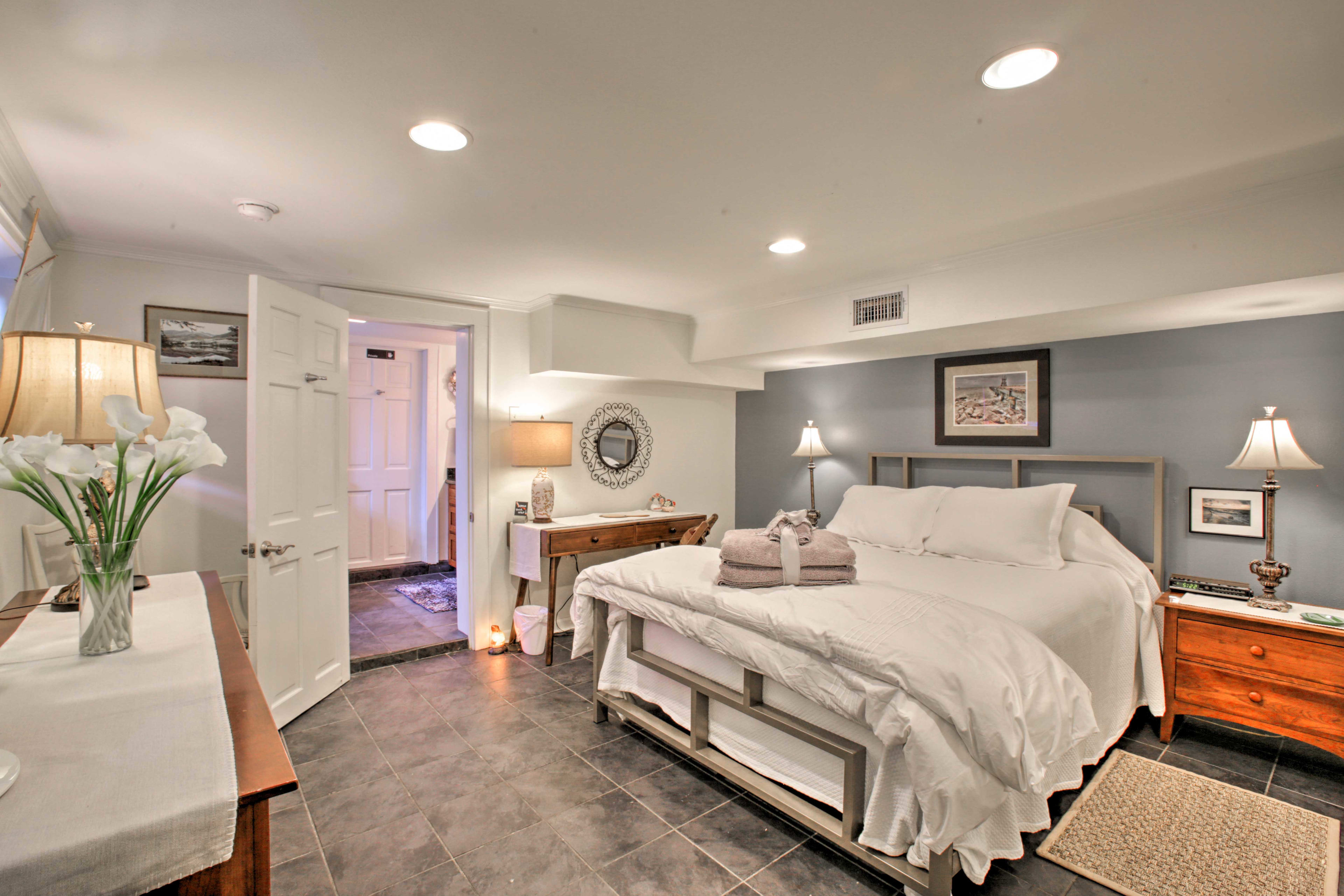 The second bedroom offers a queen-sized bed.
