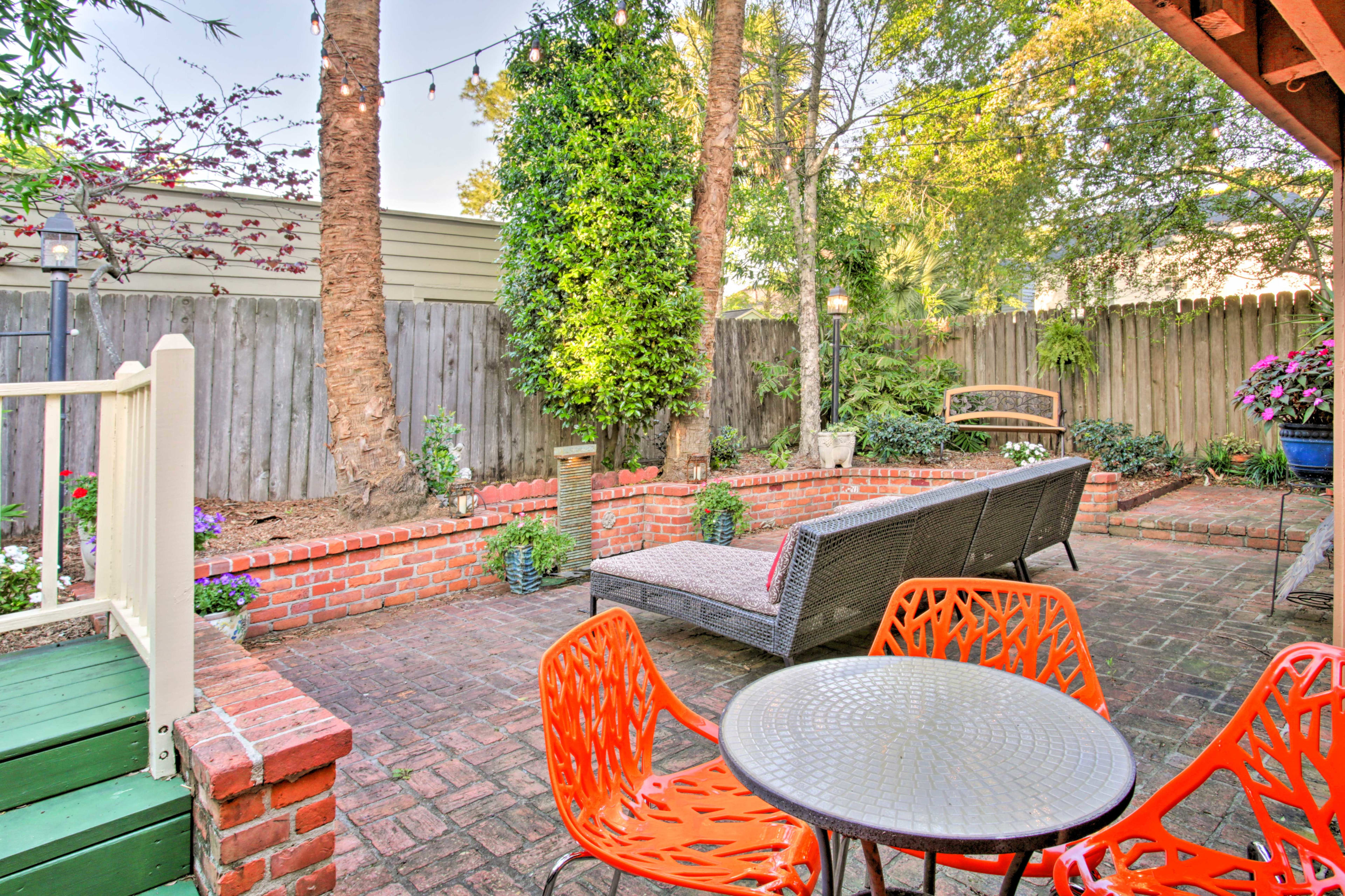 This is the perfect setting for an al fresco meal fresh off the gas grill.