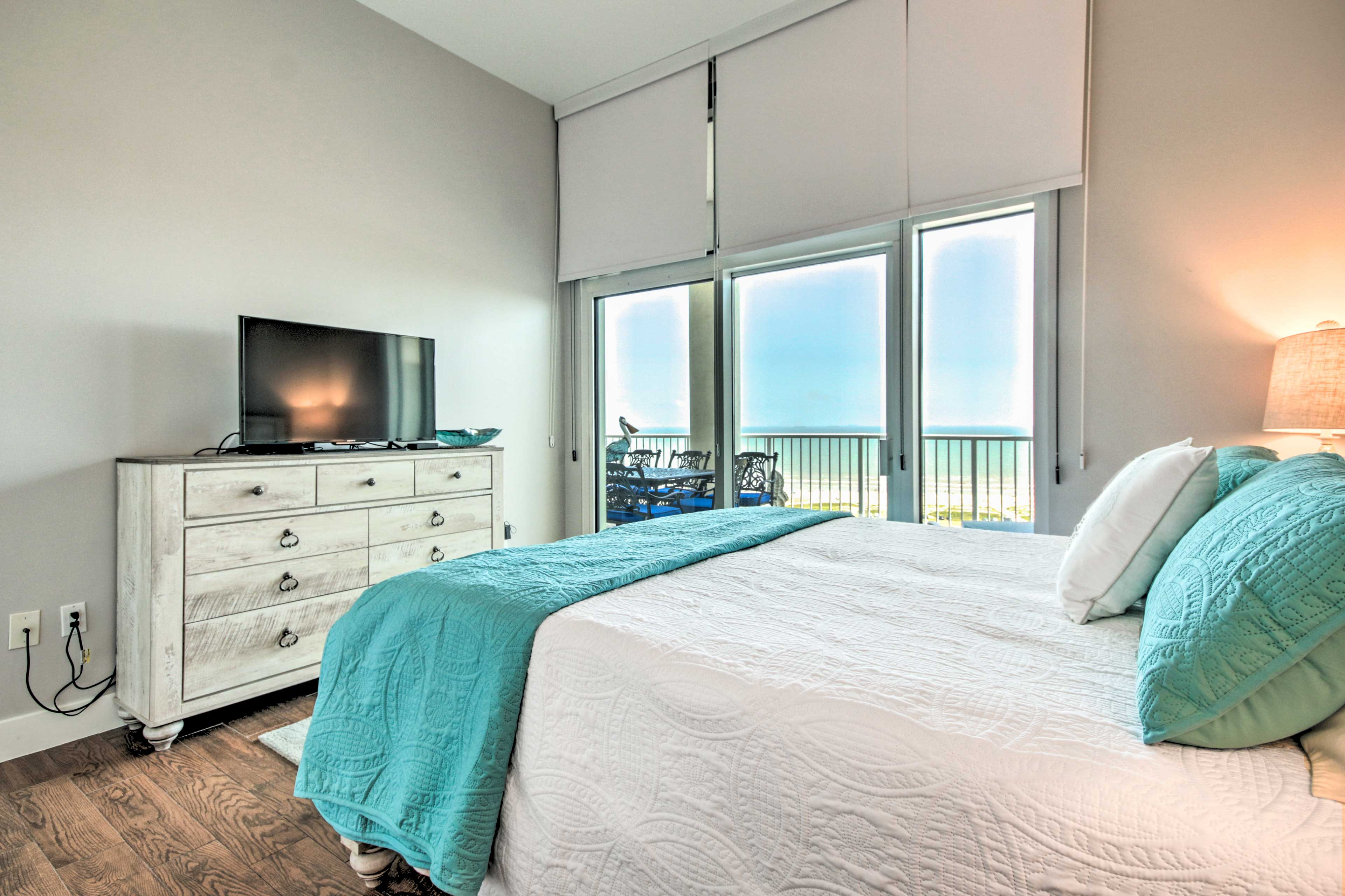 Sink into the king bed in the master bedroom.