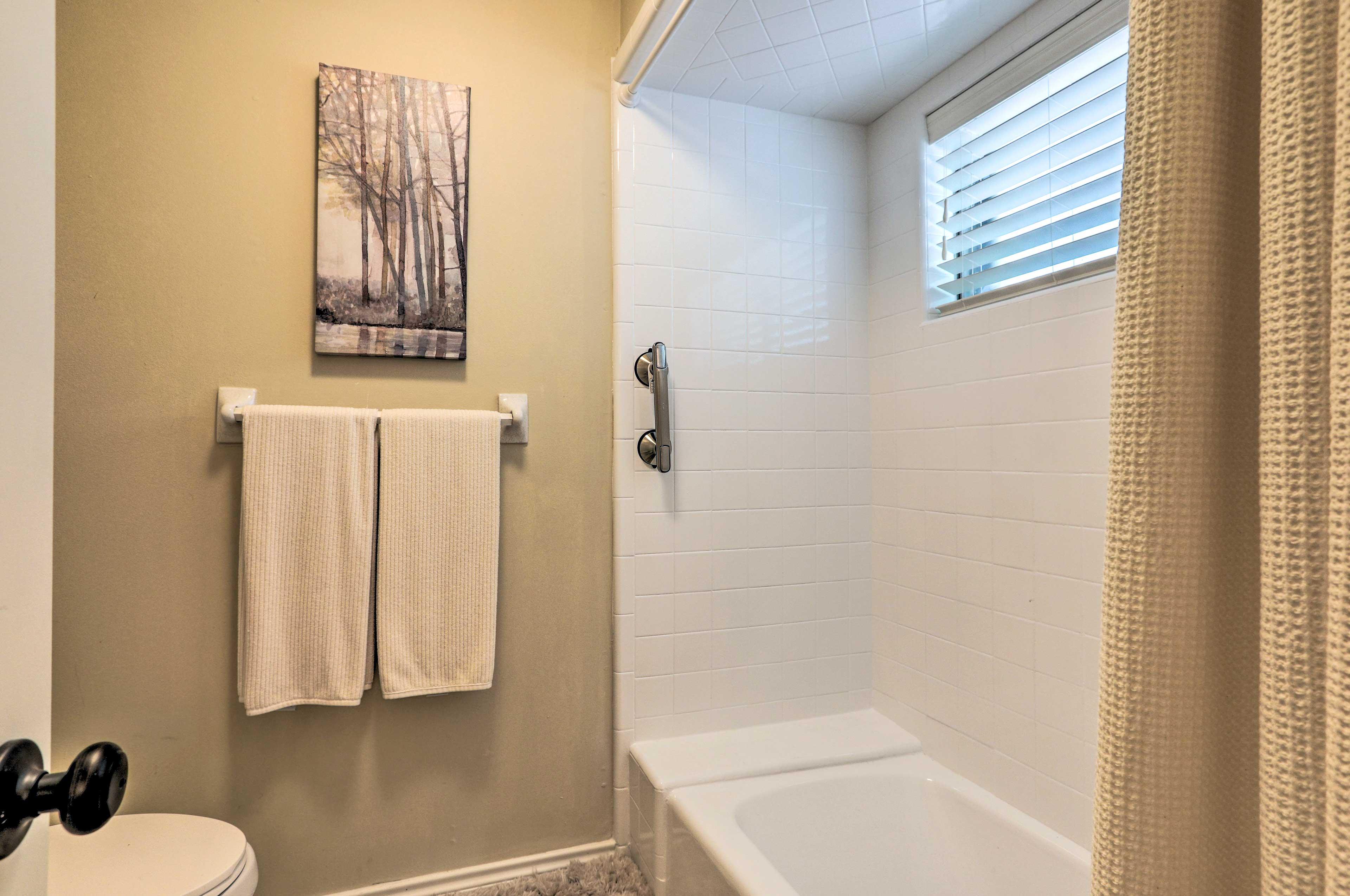 Enjoy a relaxing soak in the bathtub.