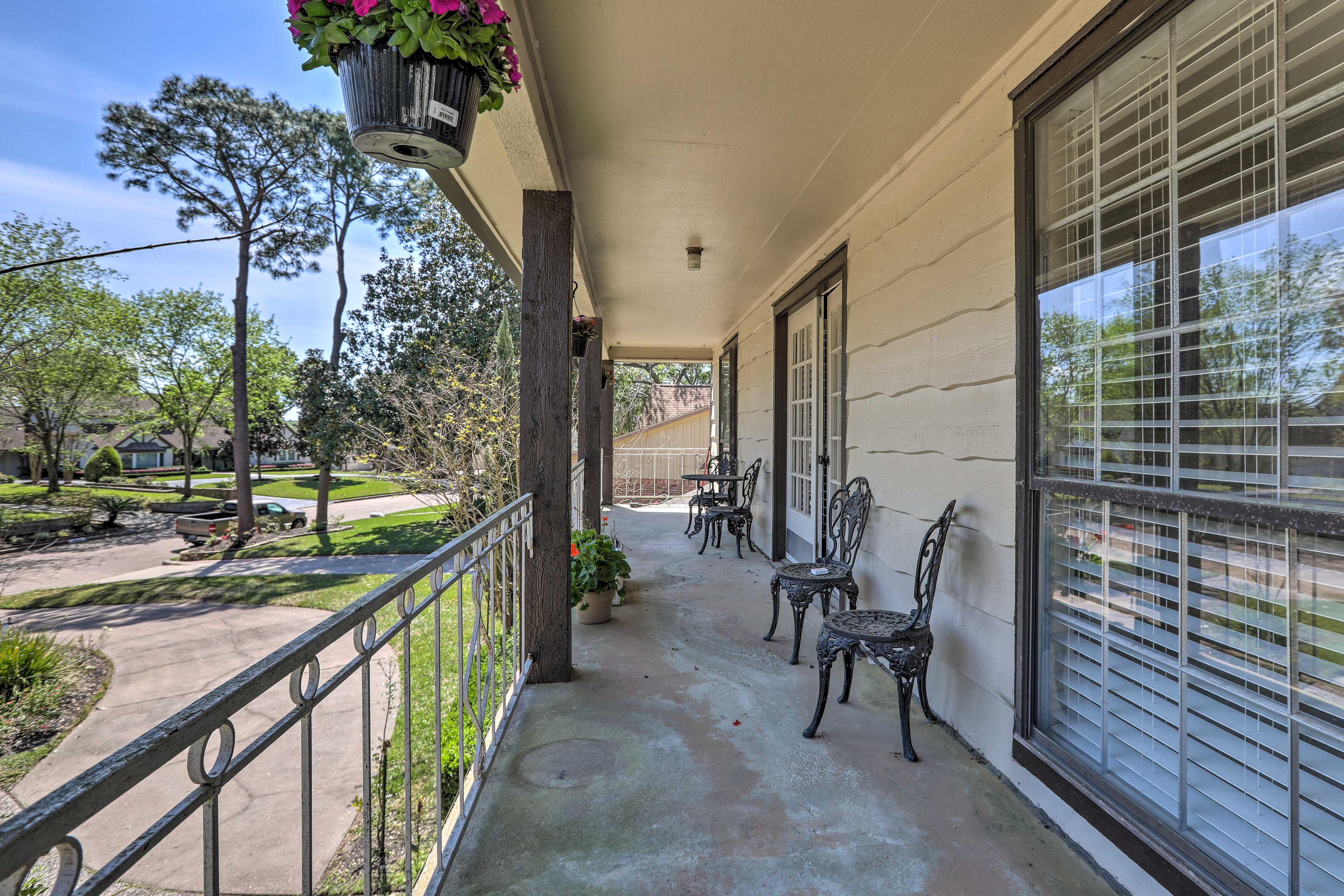 Enjoy a morning cup of coffee on the patio.