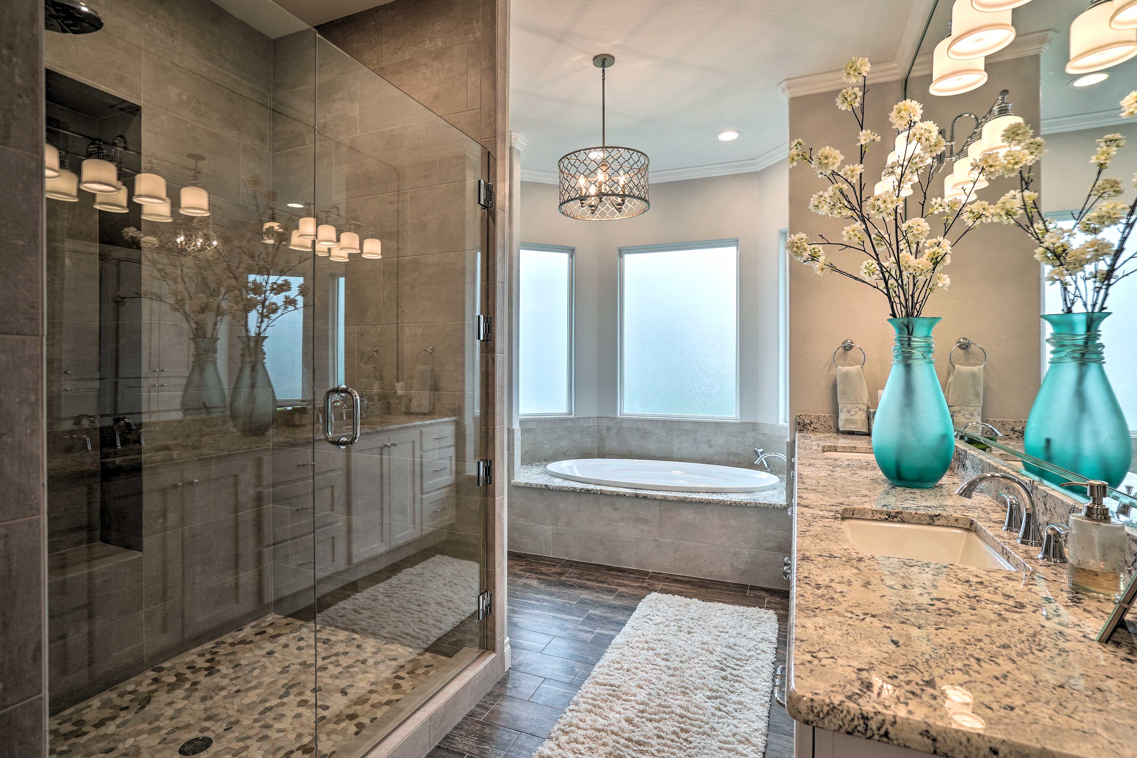 A second bathtub is available as well as this large walk-in shower.