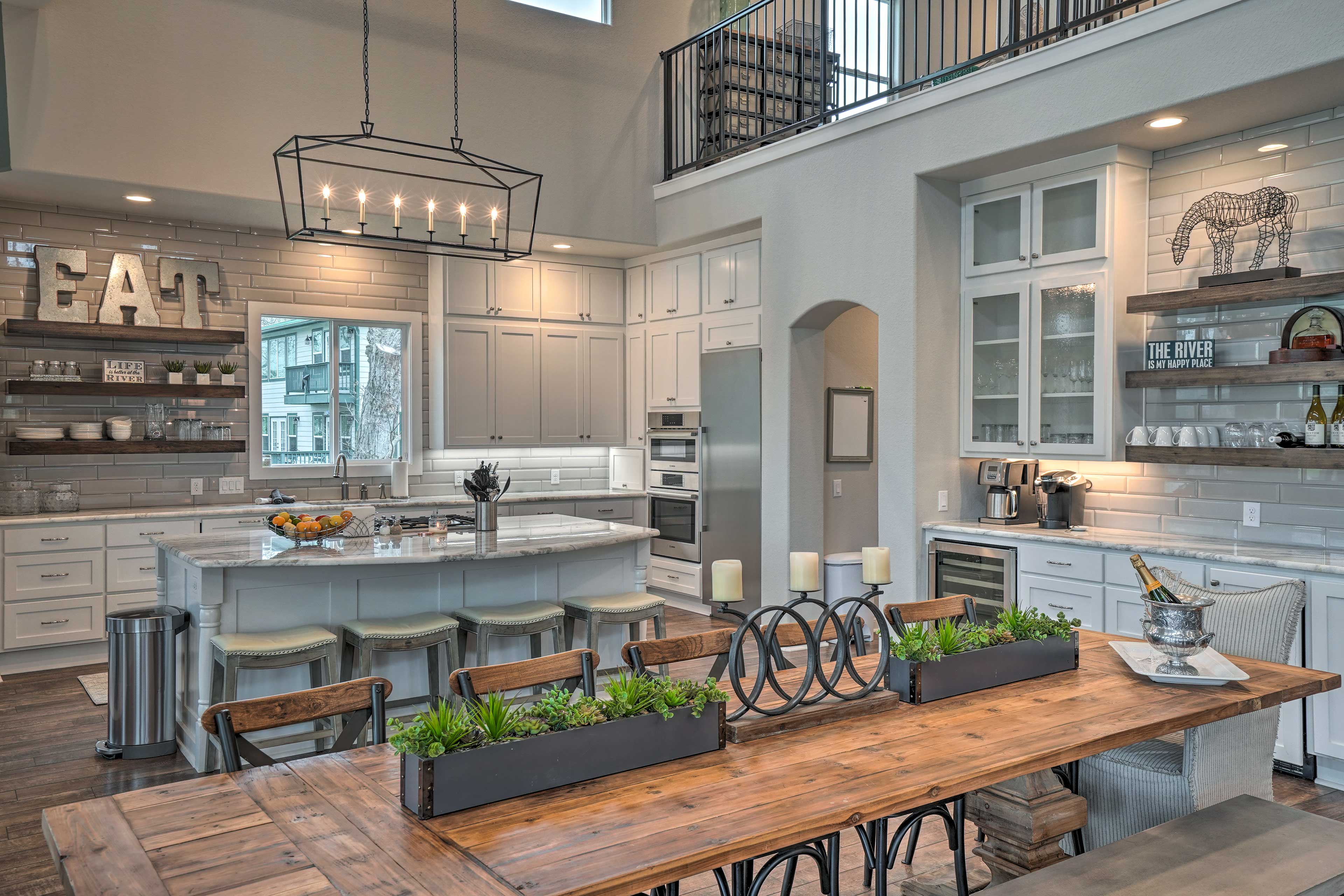 This area features a rustic-chic farmhouse style with lots of open space.