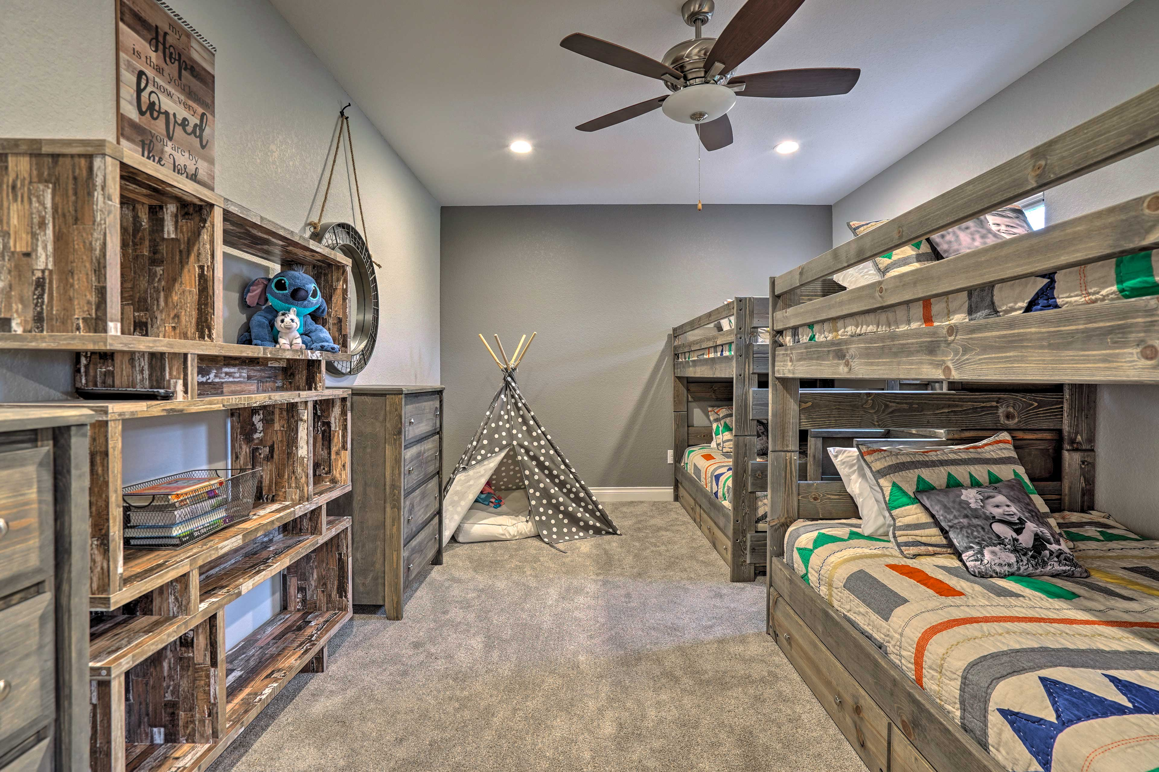 This room is great for kids with a teepee for them to play in.