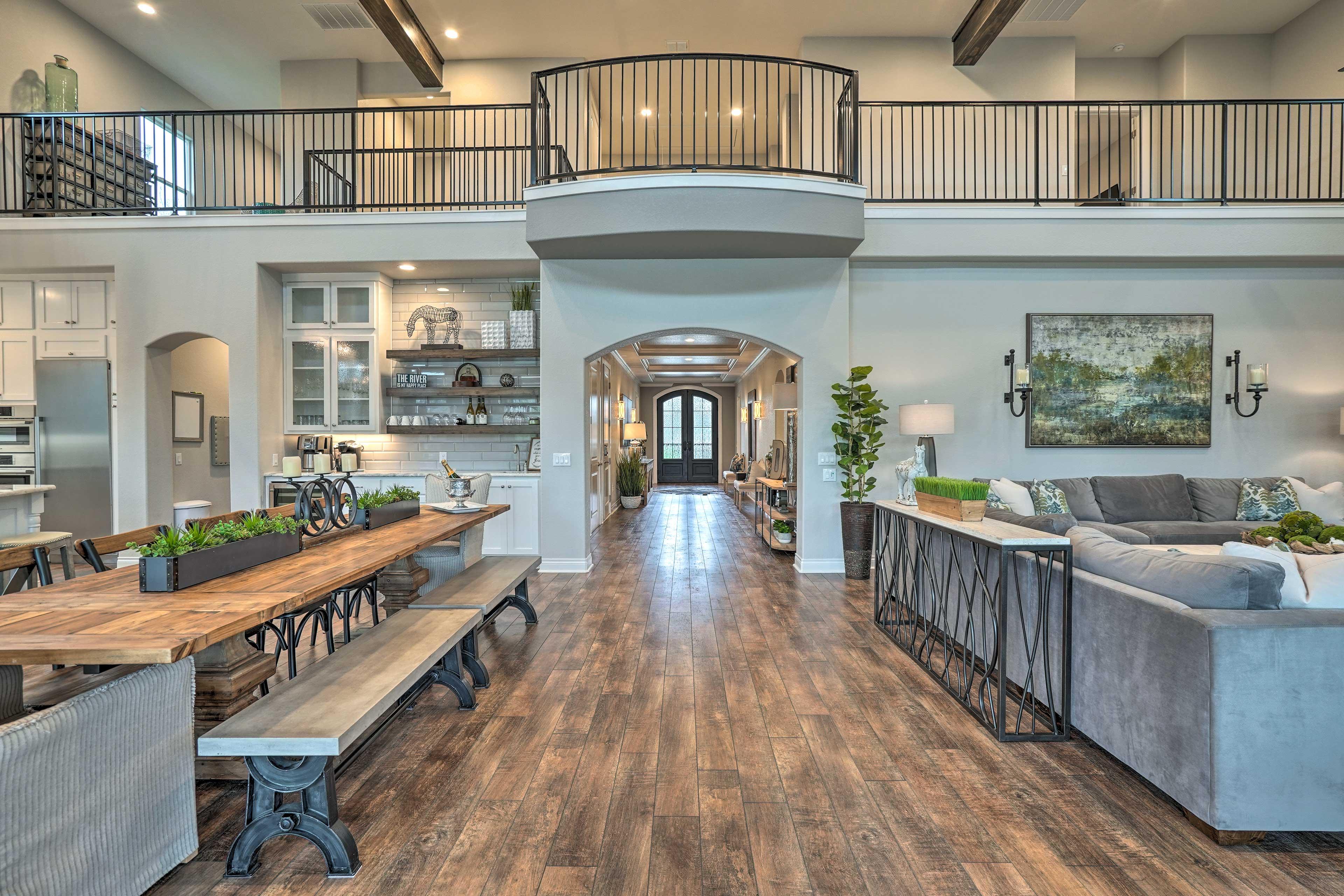Admire the cool color scheme of the home's impressive interior!