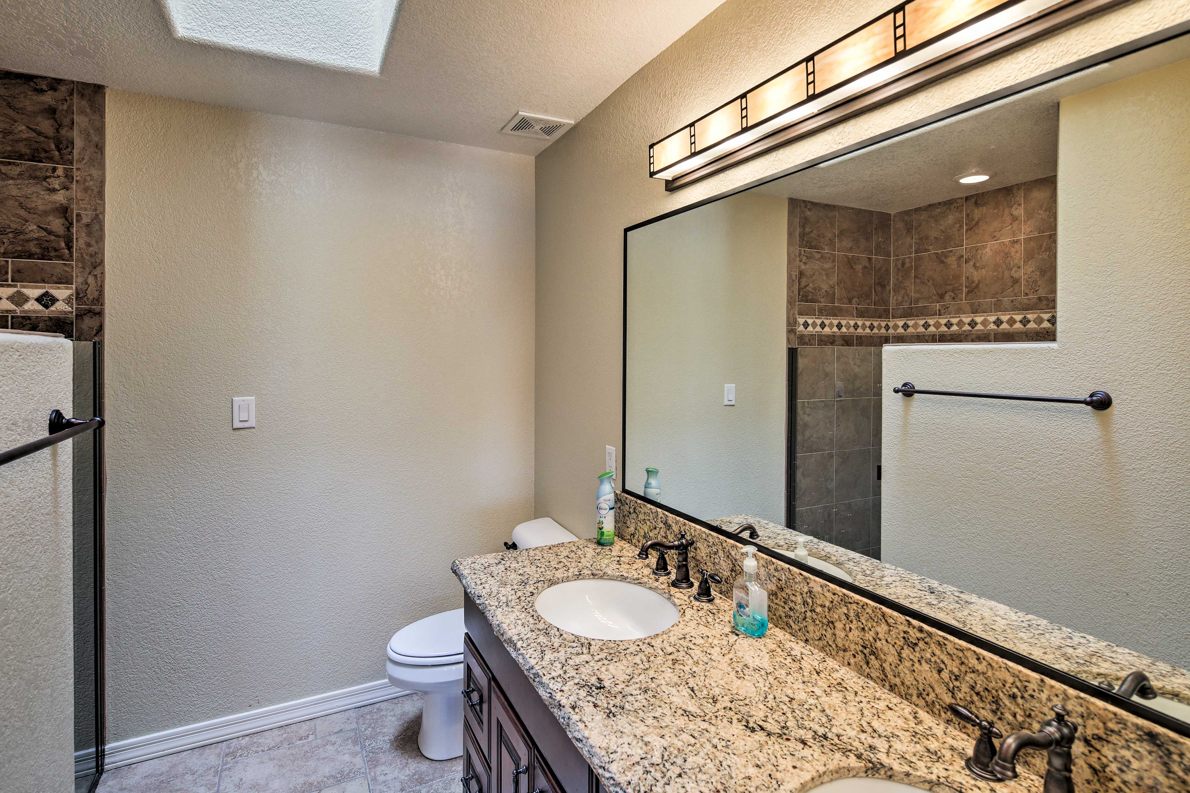 The master bath includes dual sinks.
