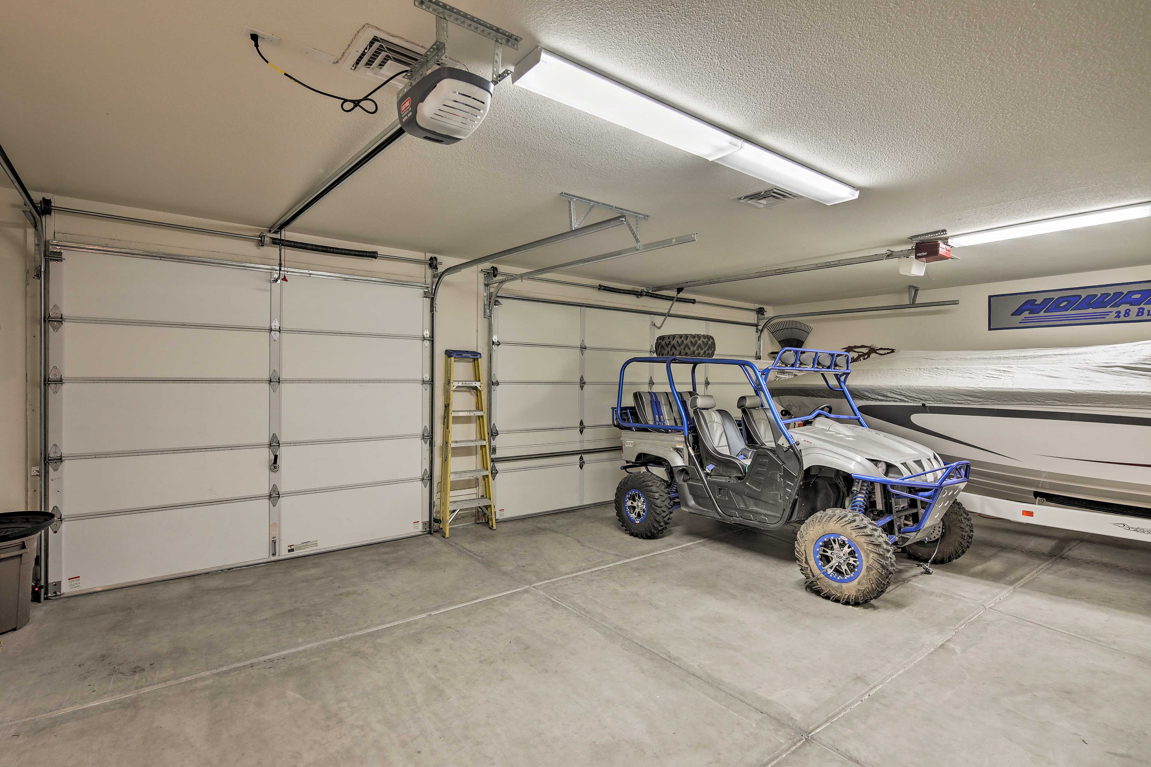 One vehicle can be parked in the garage, and 6 more in the driveway.