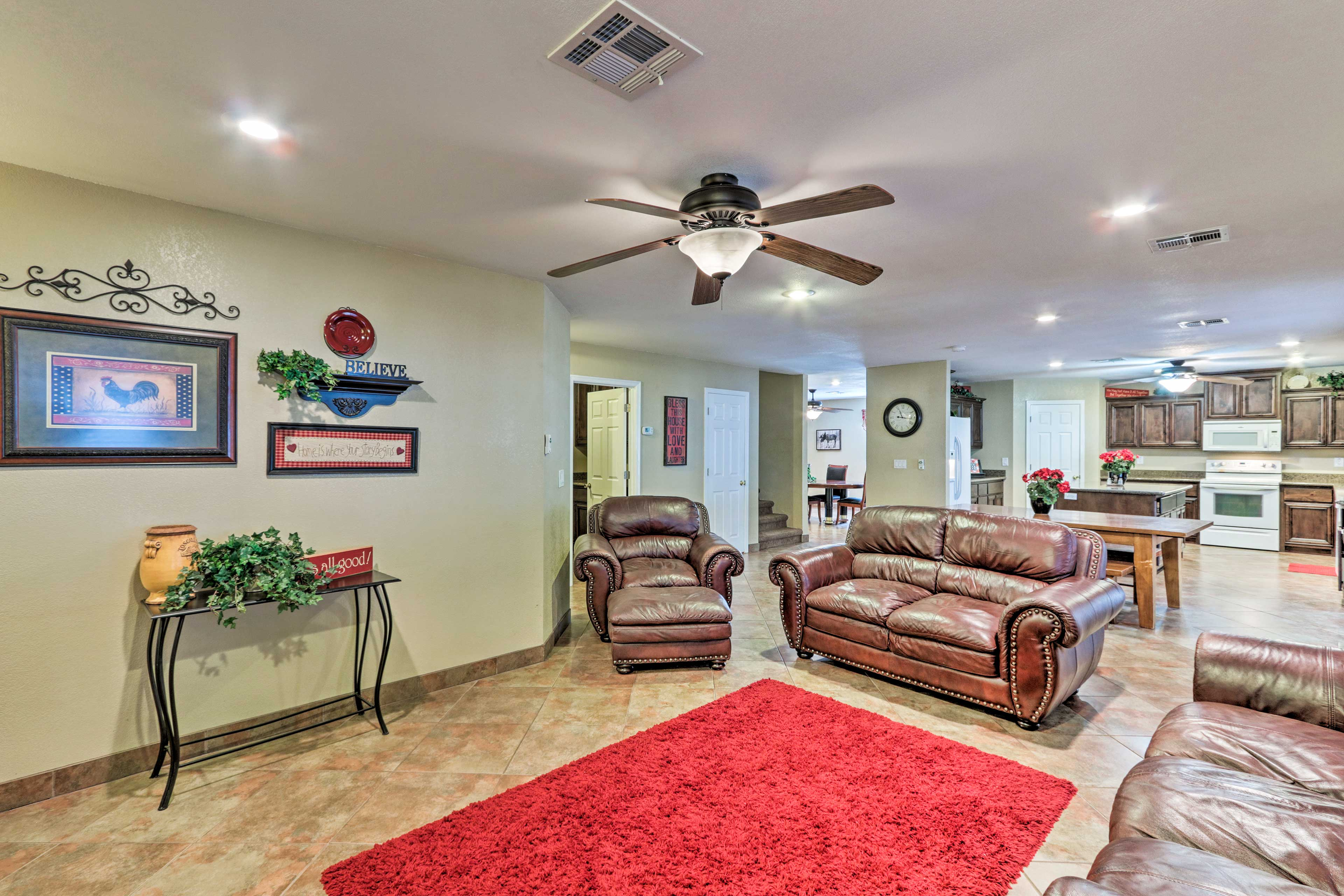 Colorful decor features throughout the home.