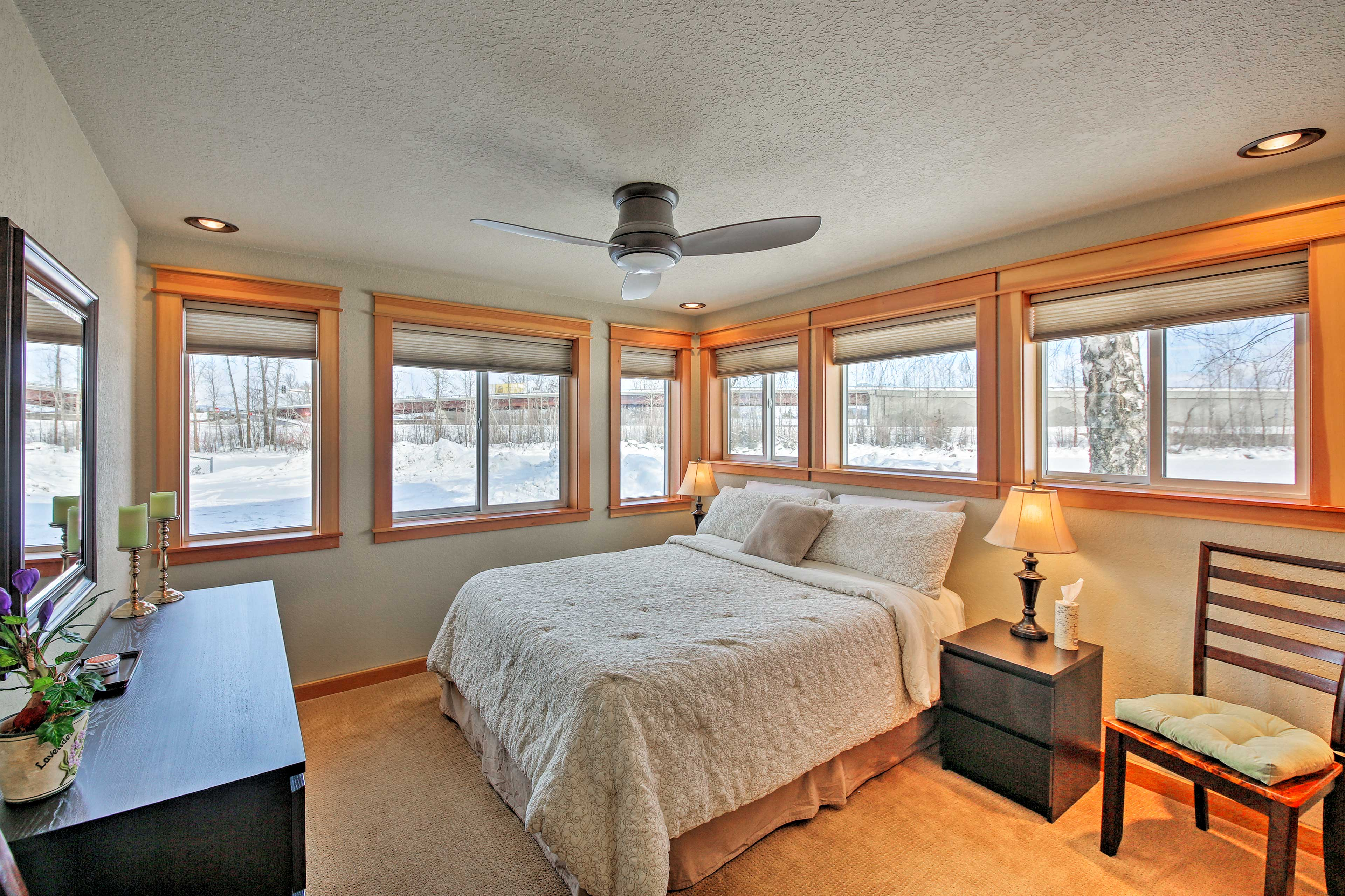 The condo has 1 cozy bedroom for you to sleep in.