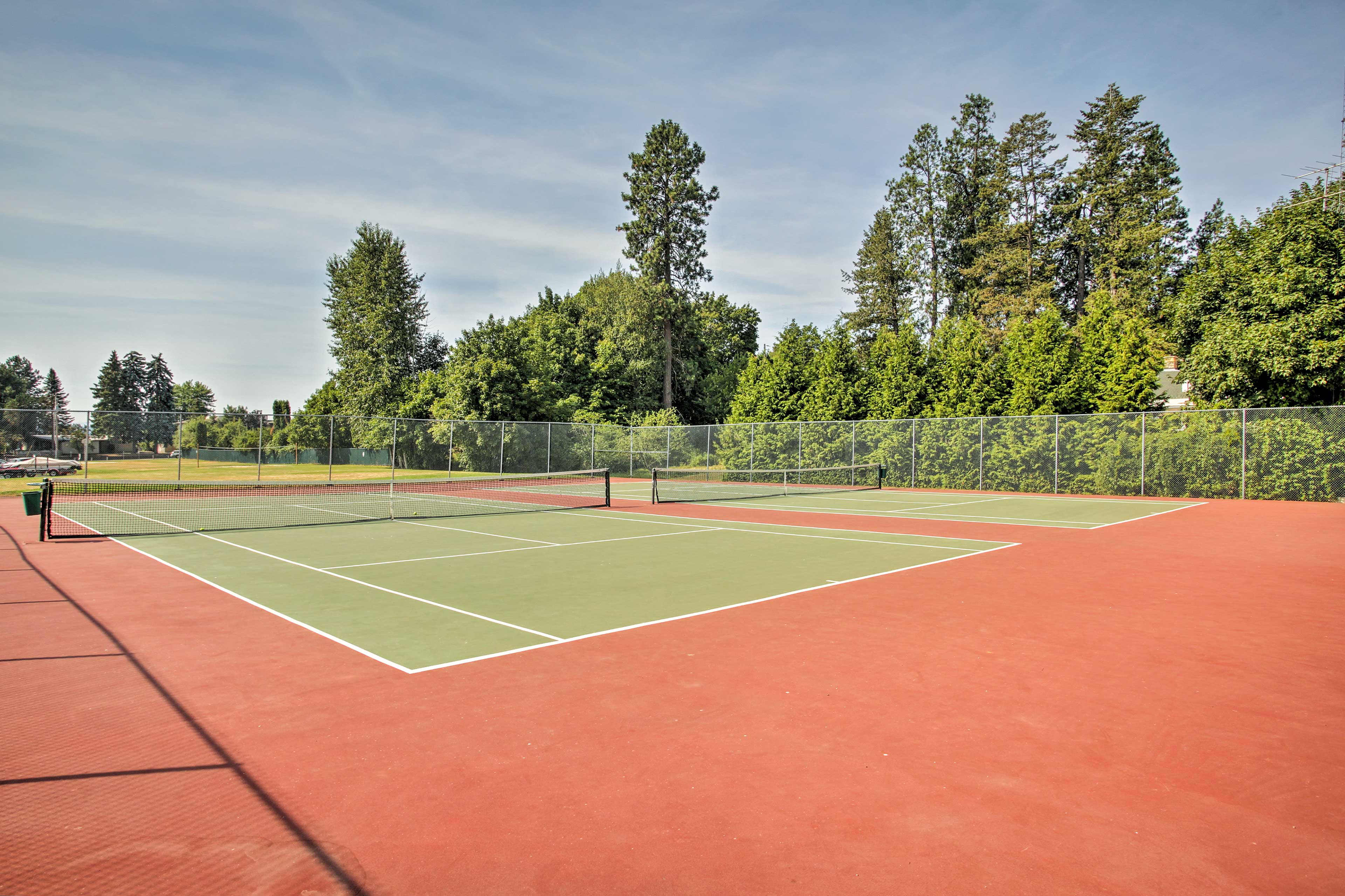 Play a match of tennis for some fun exercise.