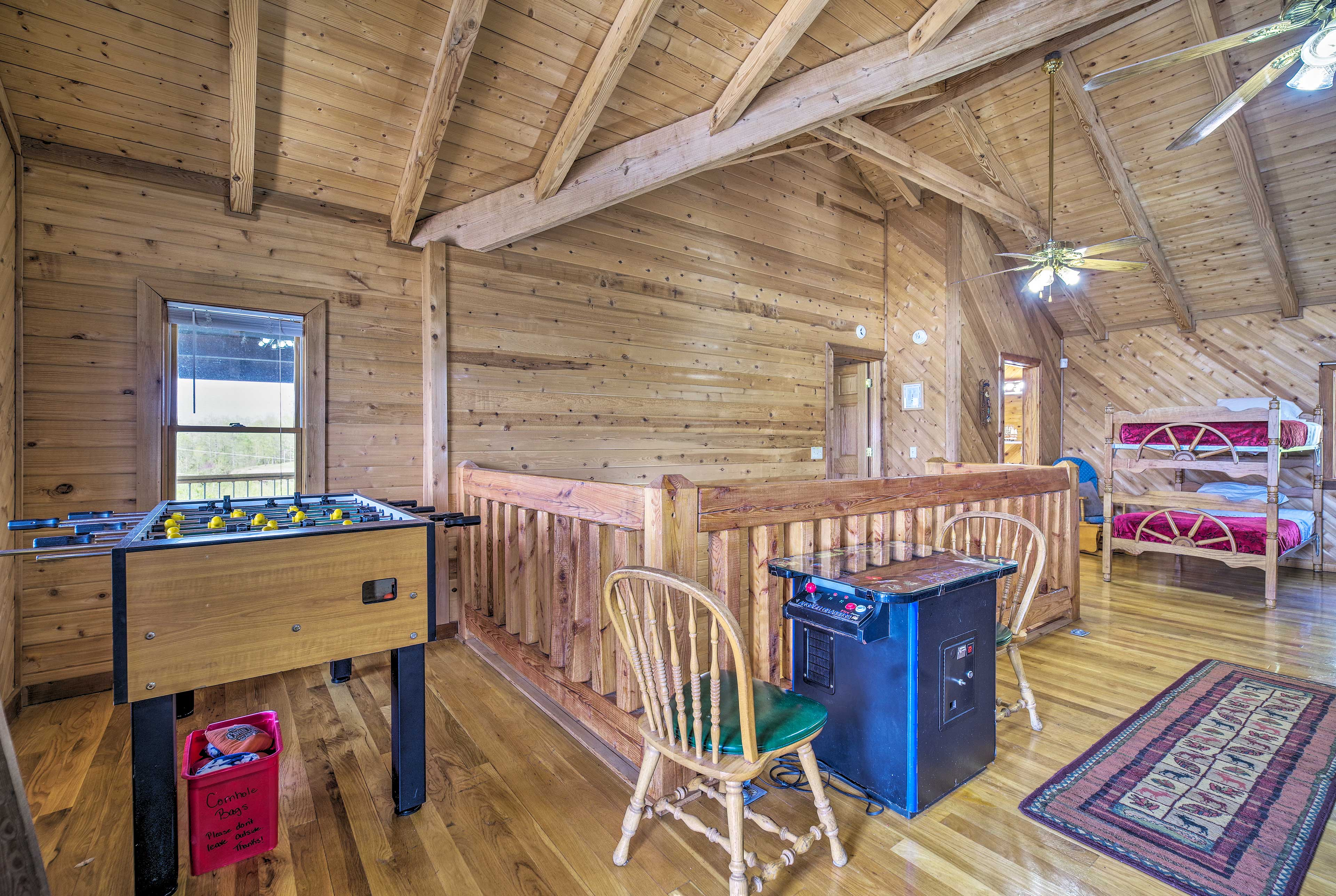 The kids will love playing the games in the loft!