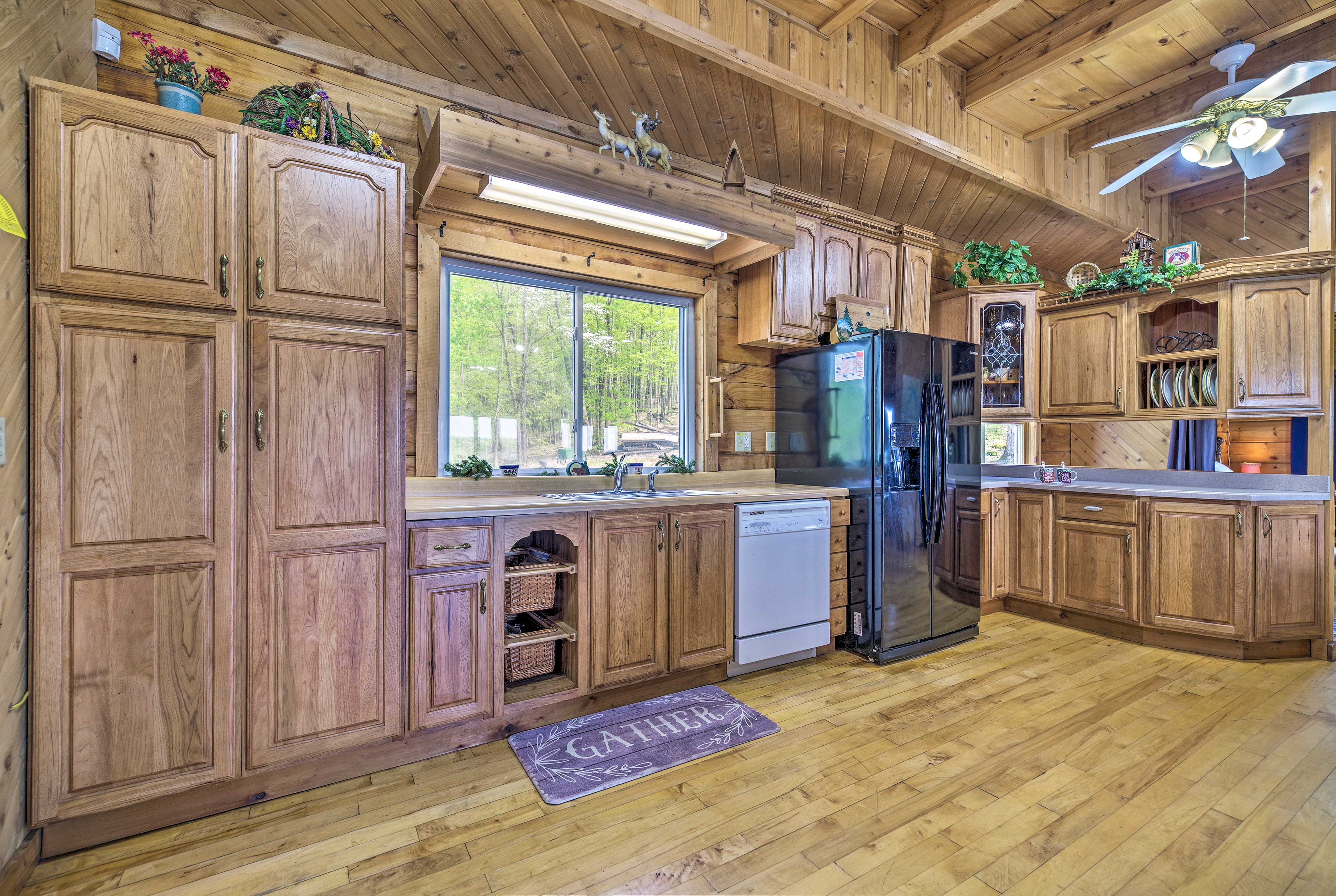 There are 2 full kitchens in the cabin.