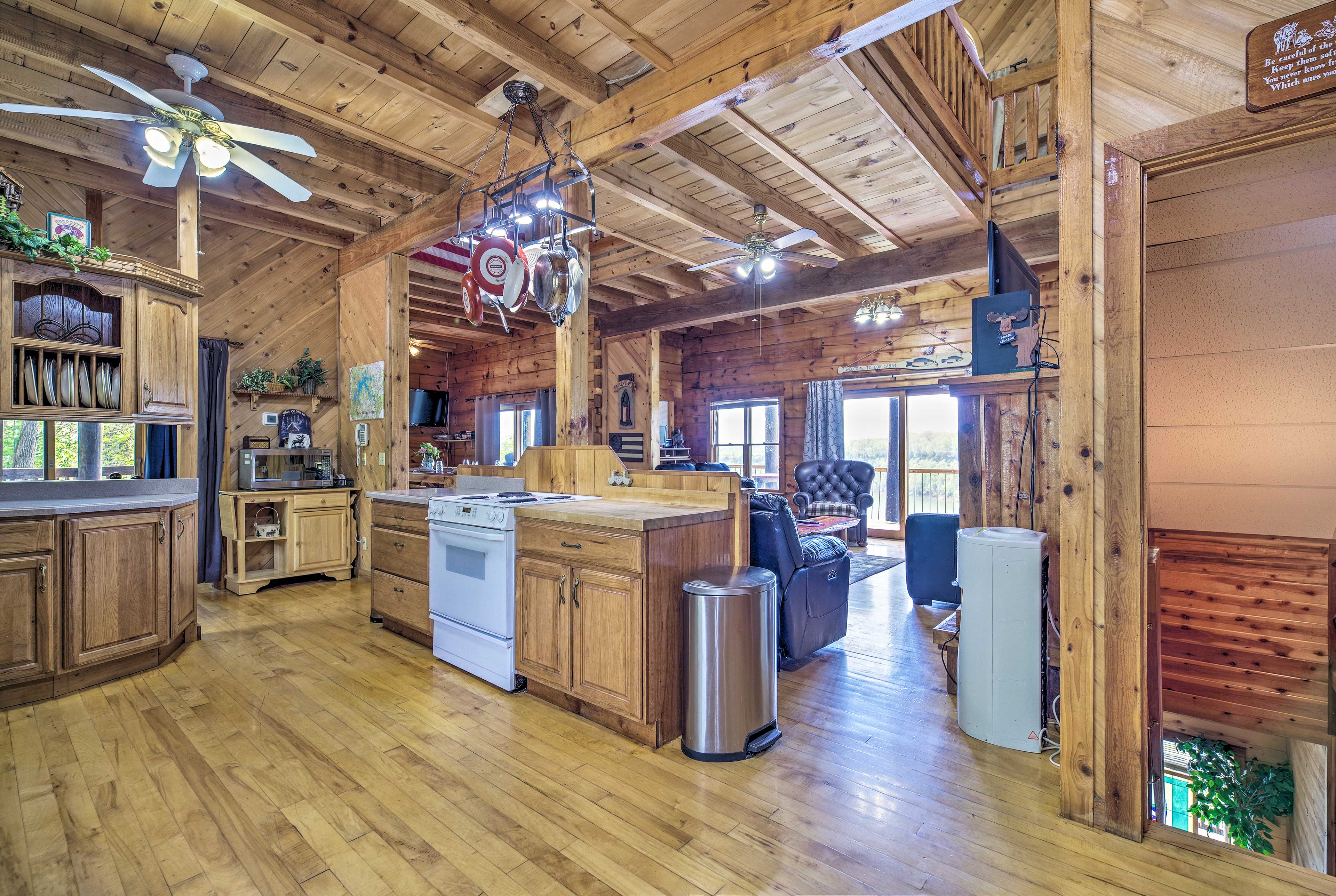 This fully equipped kitchen features ample counter space and cookware.
