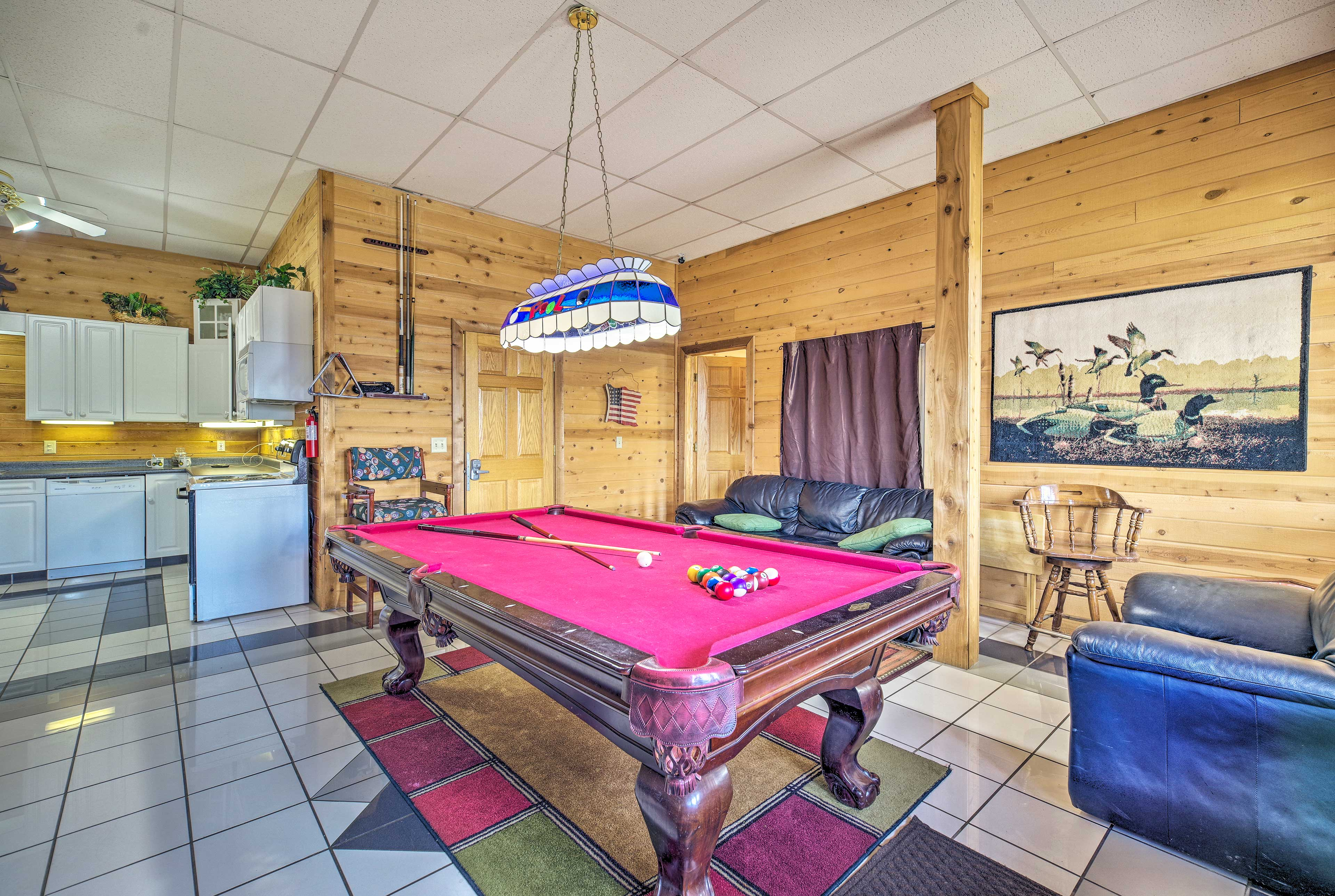 You'll love hanging out in this billiards space.