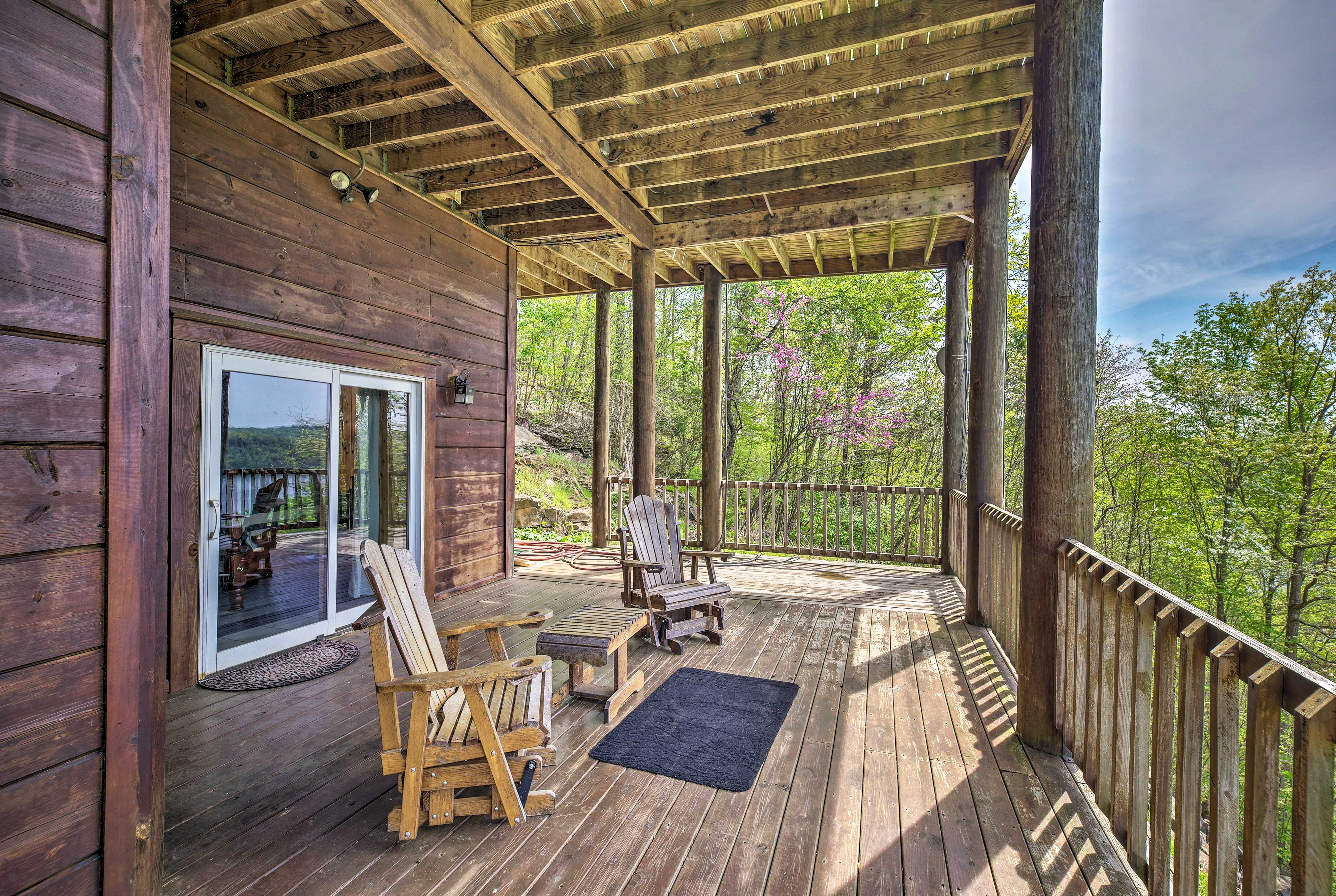 Rock your cares away on the wraparound deck.