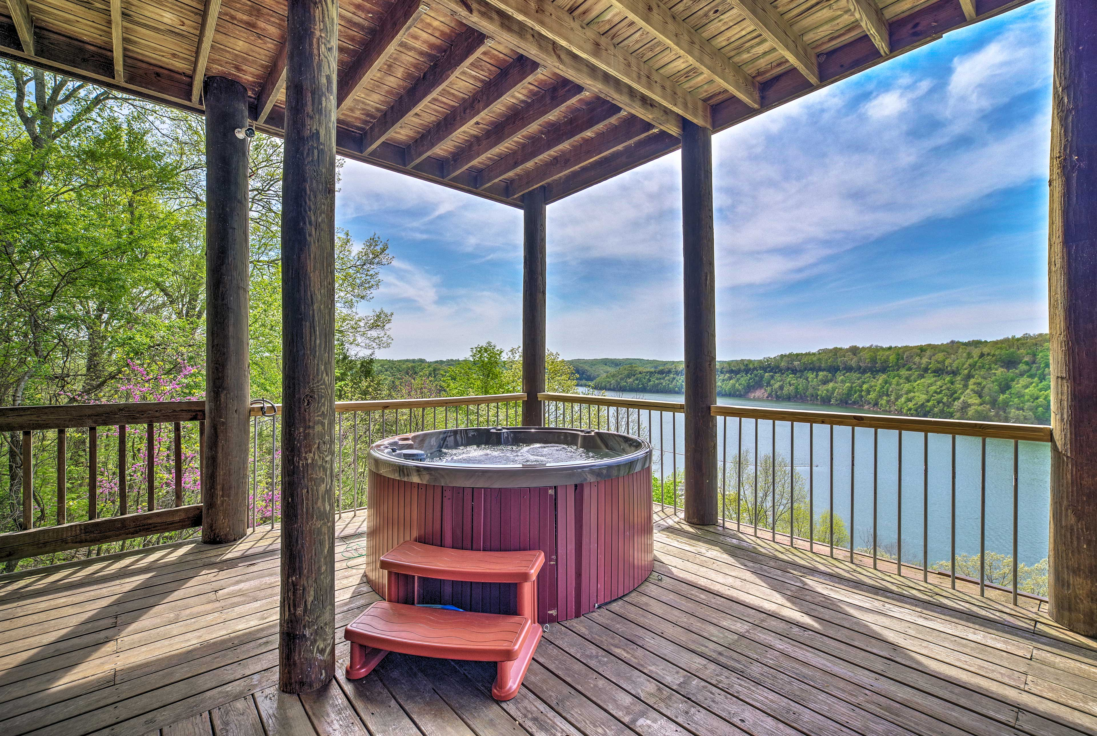 Soak your worries away in the private hot tub.