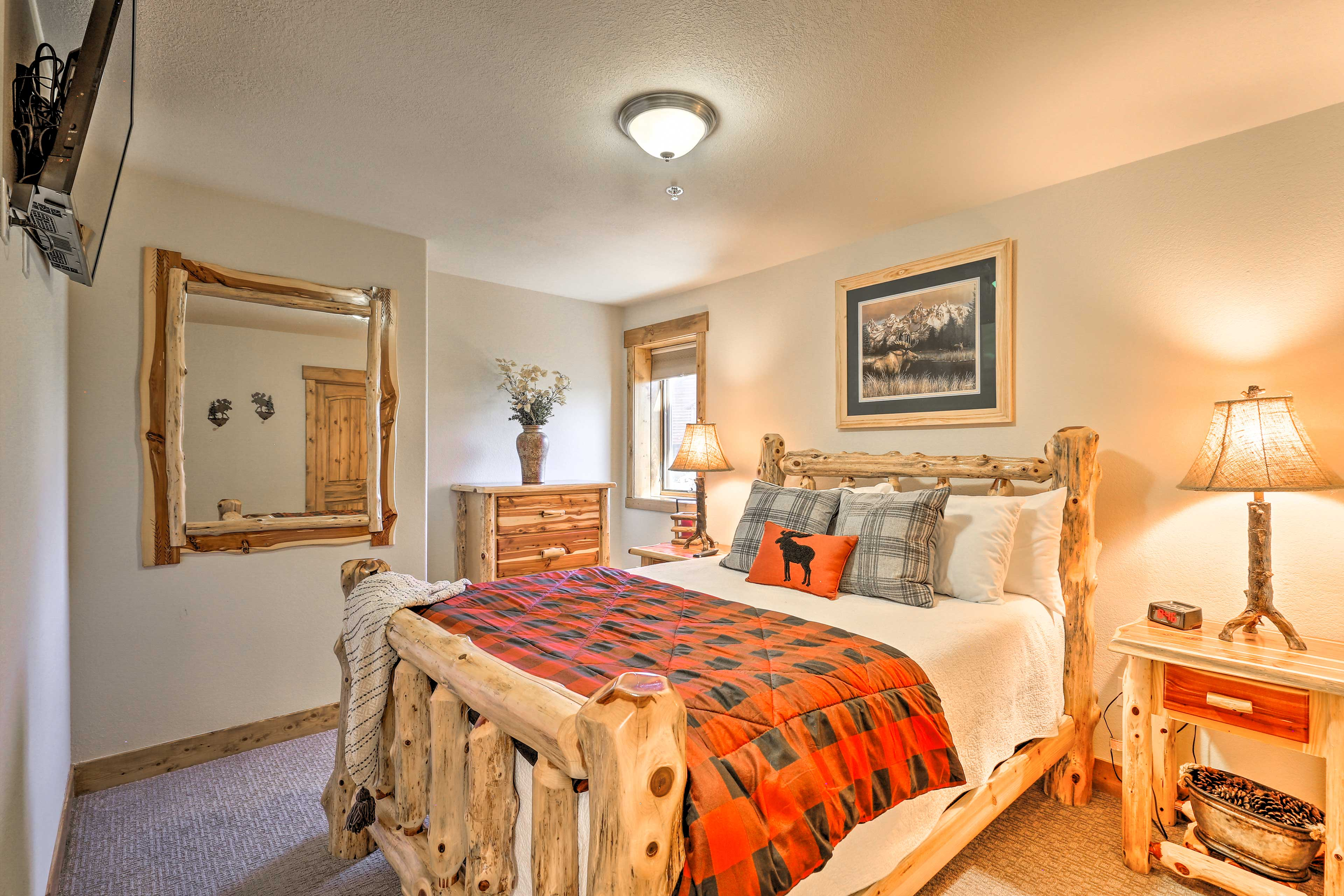 Two guests can claim the queen bed in the bedroom.