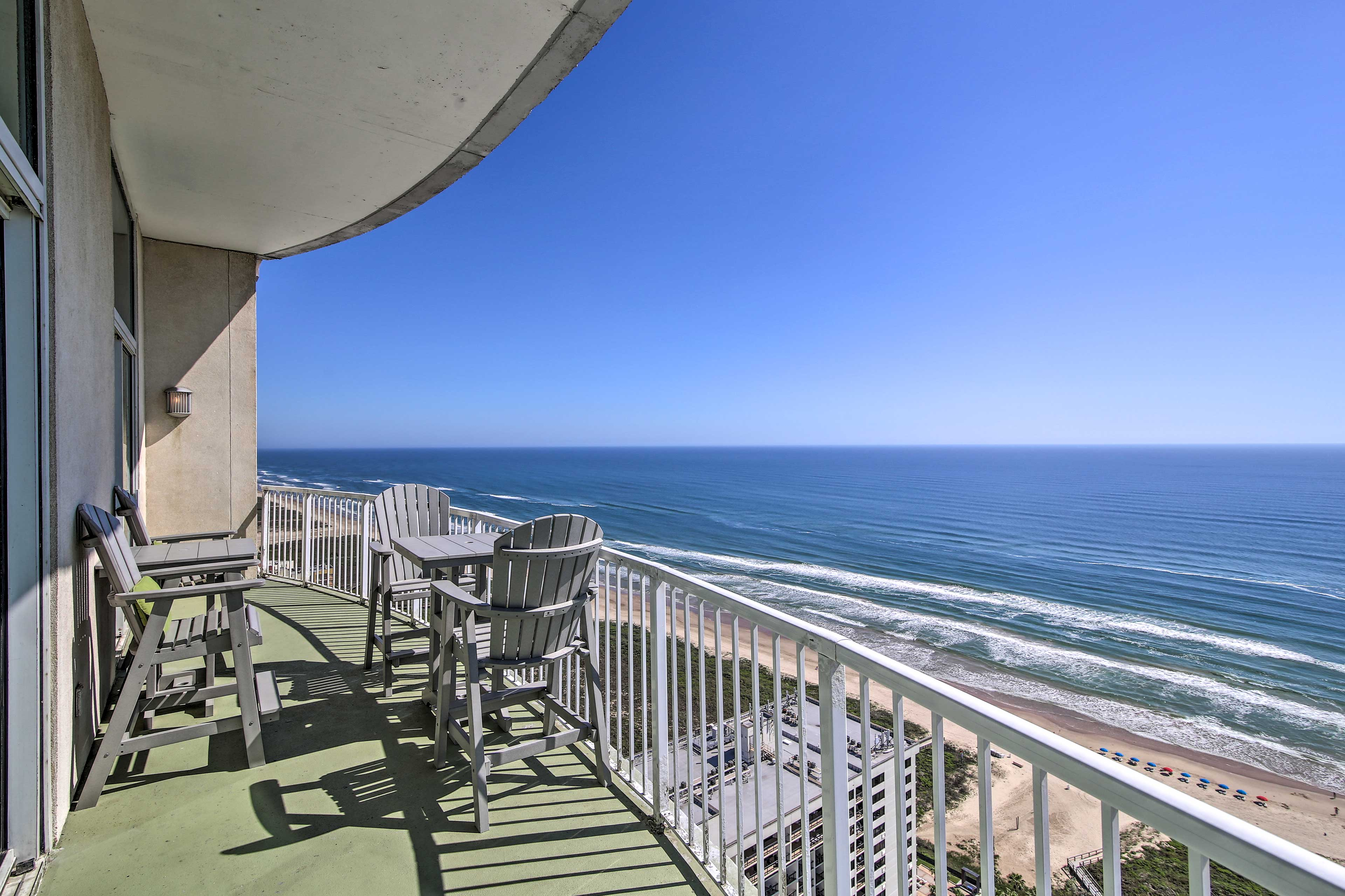 Need fresh air? Step outside for panoramic views of the beach and ocean!
