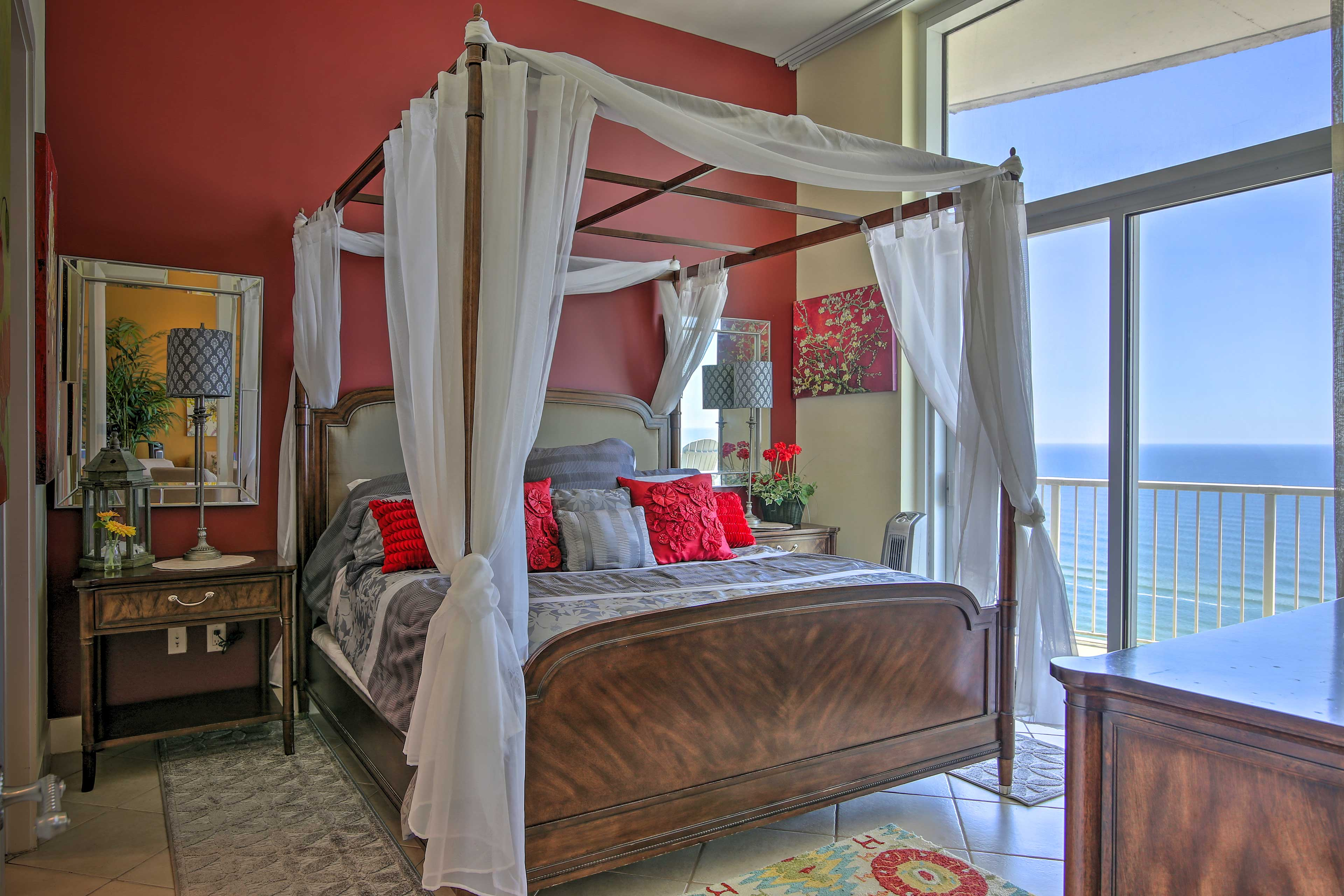 Find your inner peace in this gorgeous master bedroom with a king bed.
