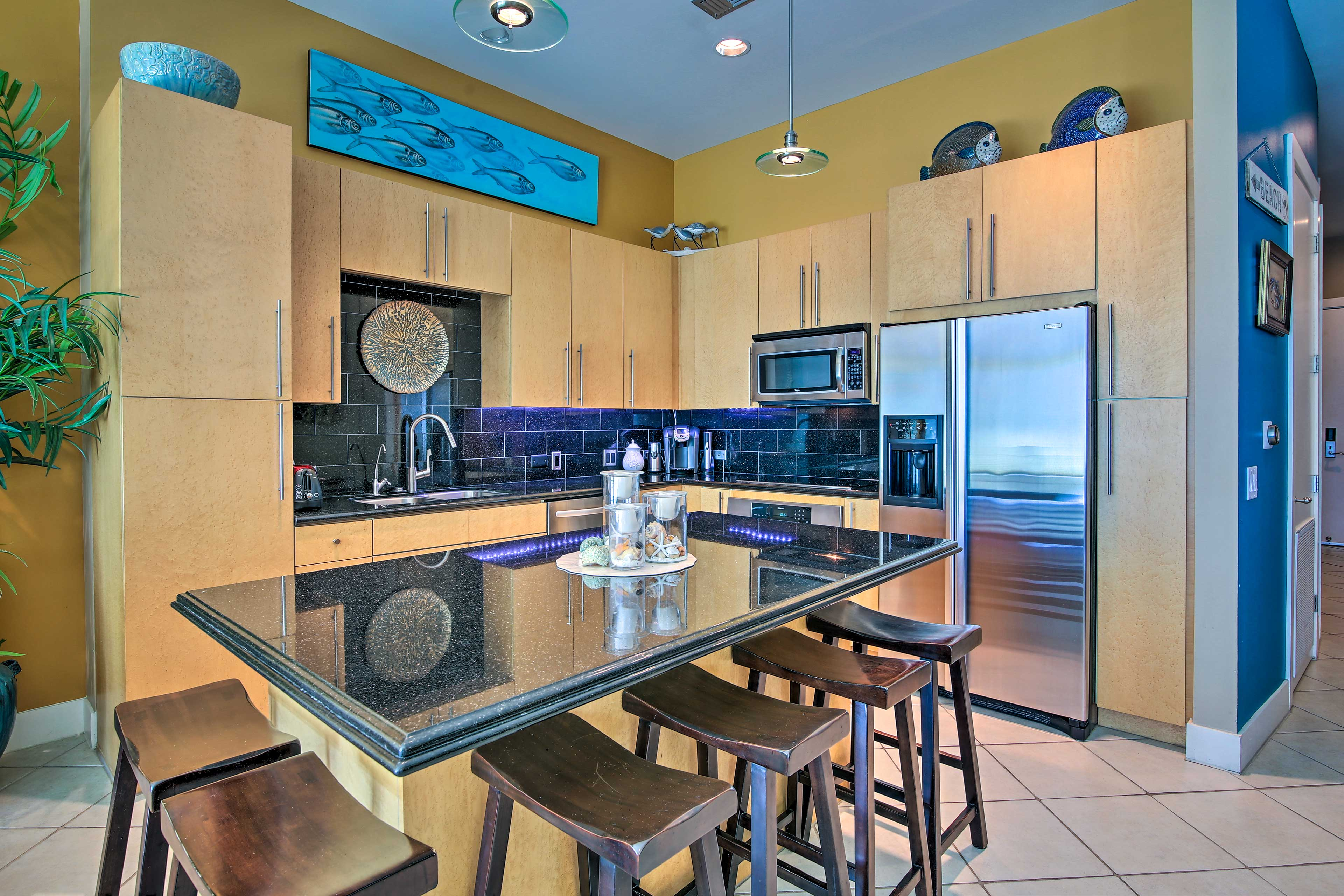 This South Padre Island condo offers essentials like a fully equipped kitchen!