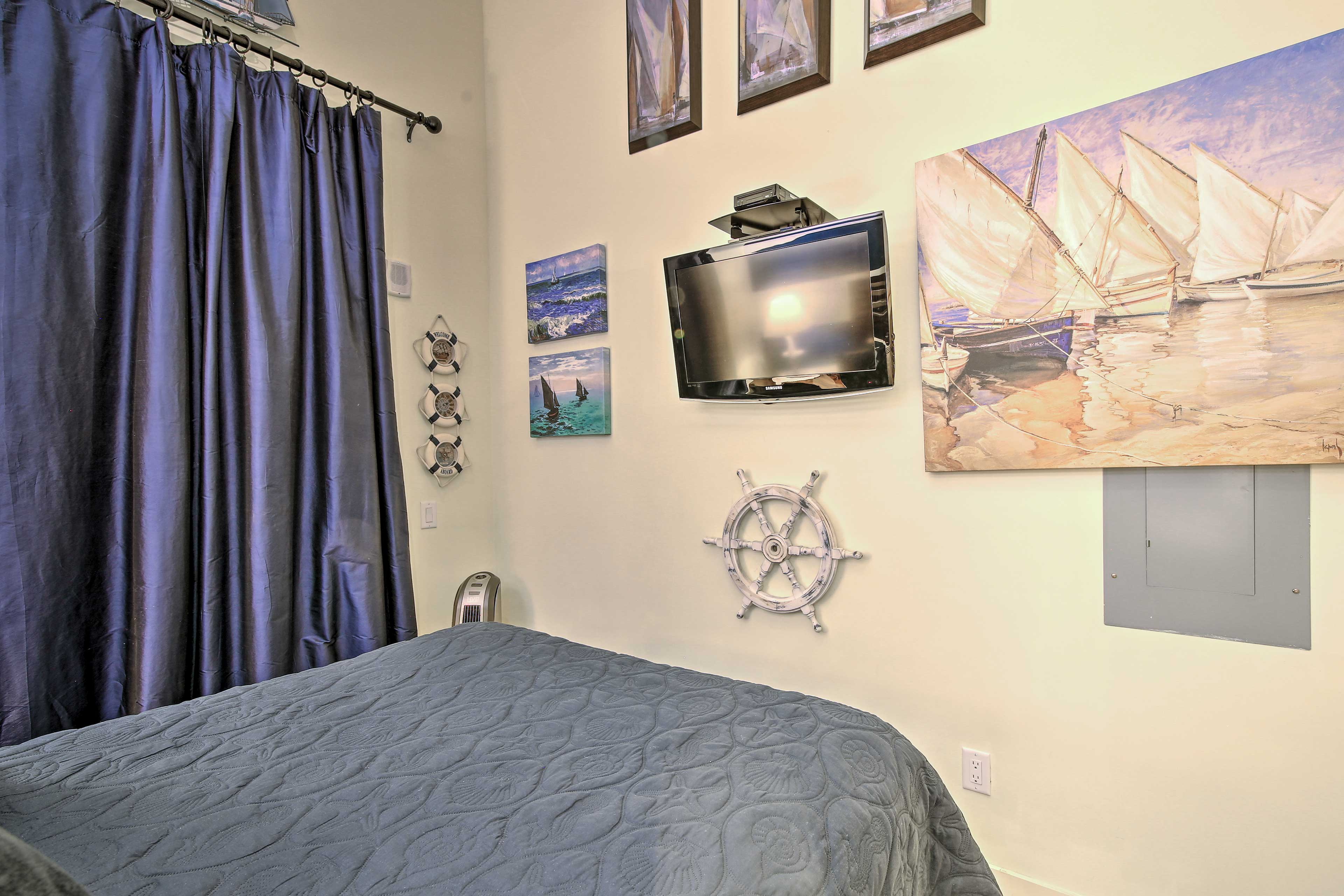 Don't miss the beach with the decor that adorns this bedroom.