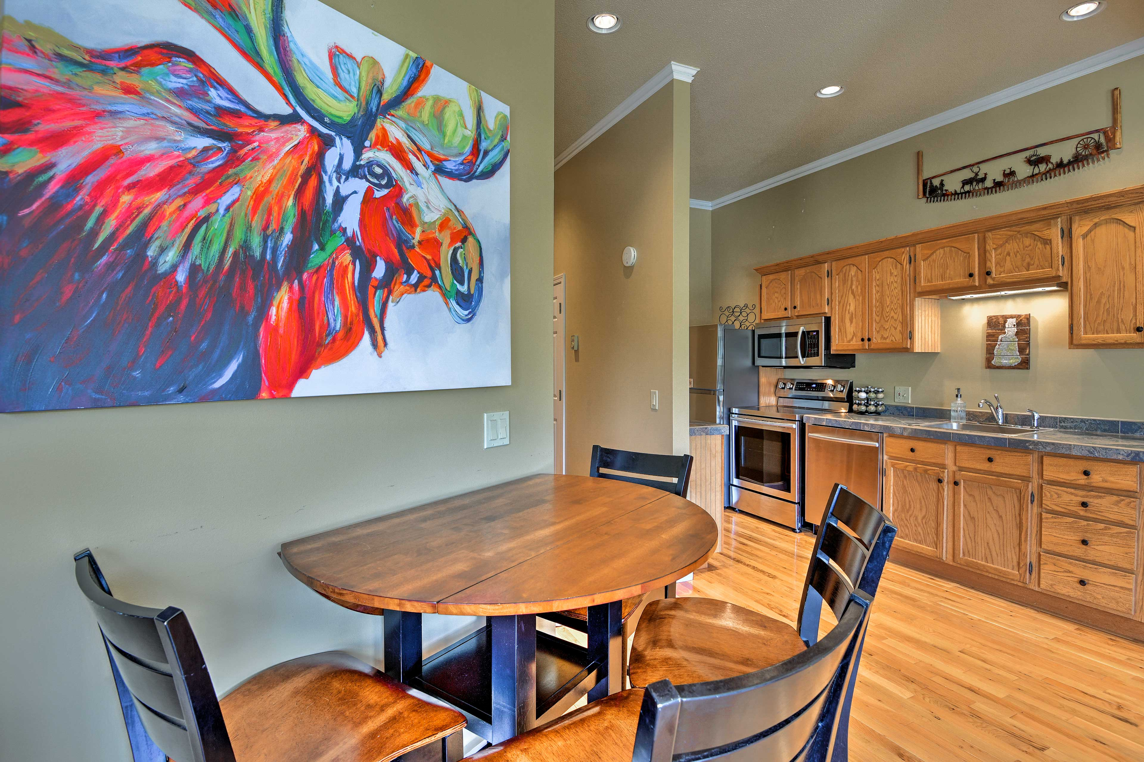The condo offers 2 bedrooms and 2 baths.