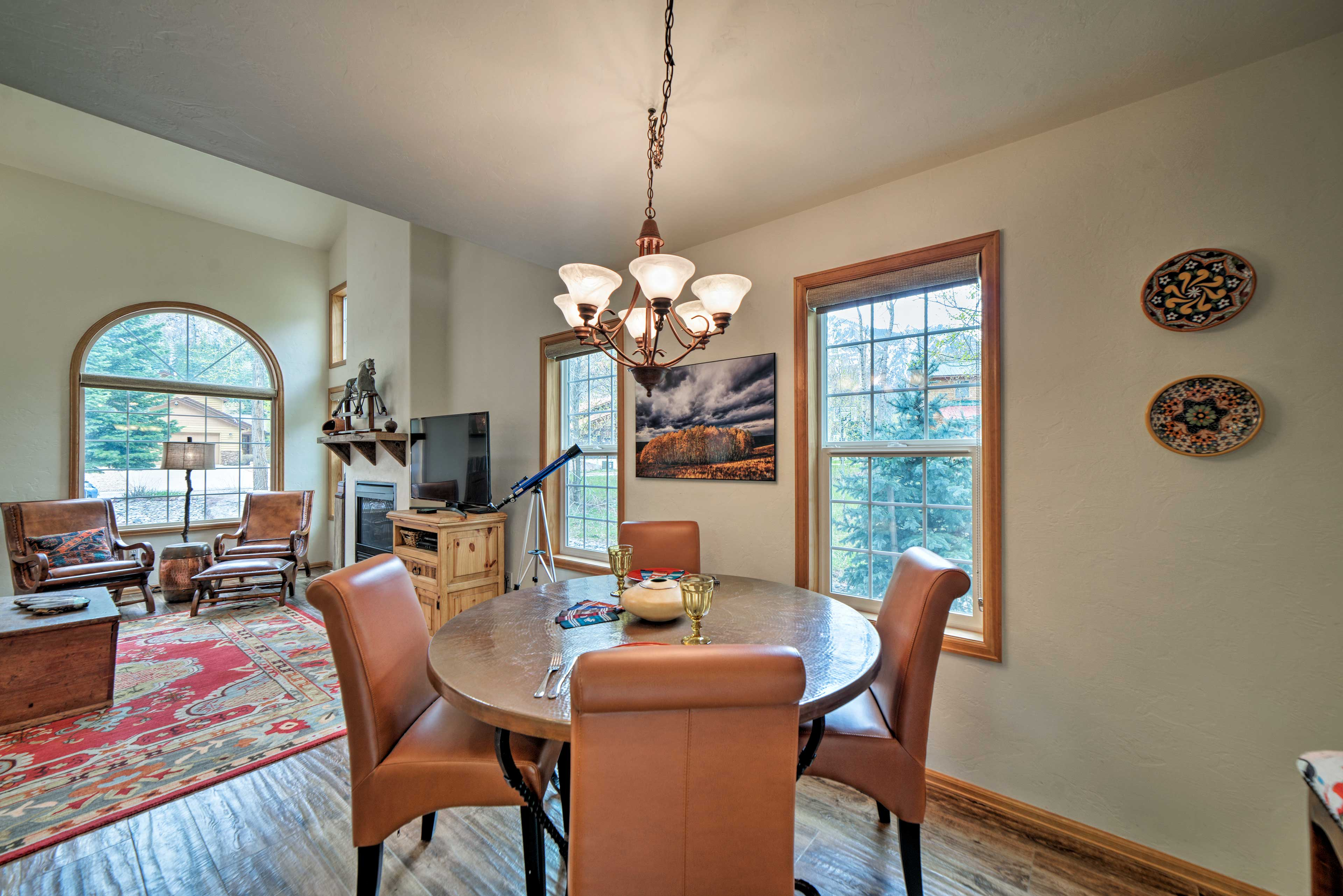 The large windows illuminate the entire living space.