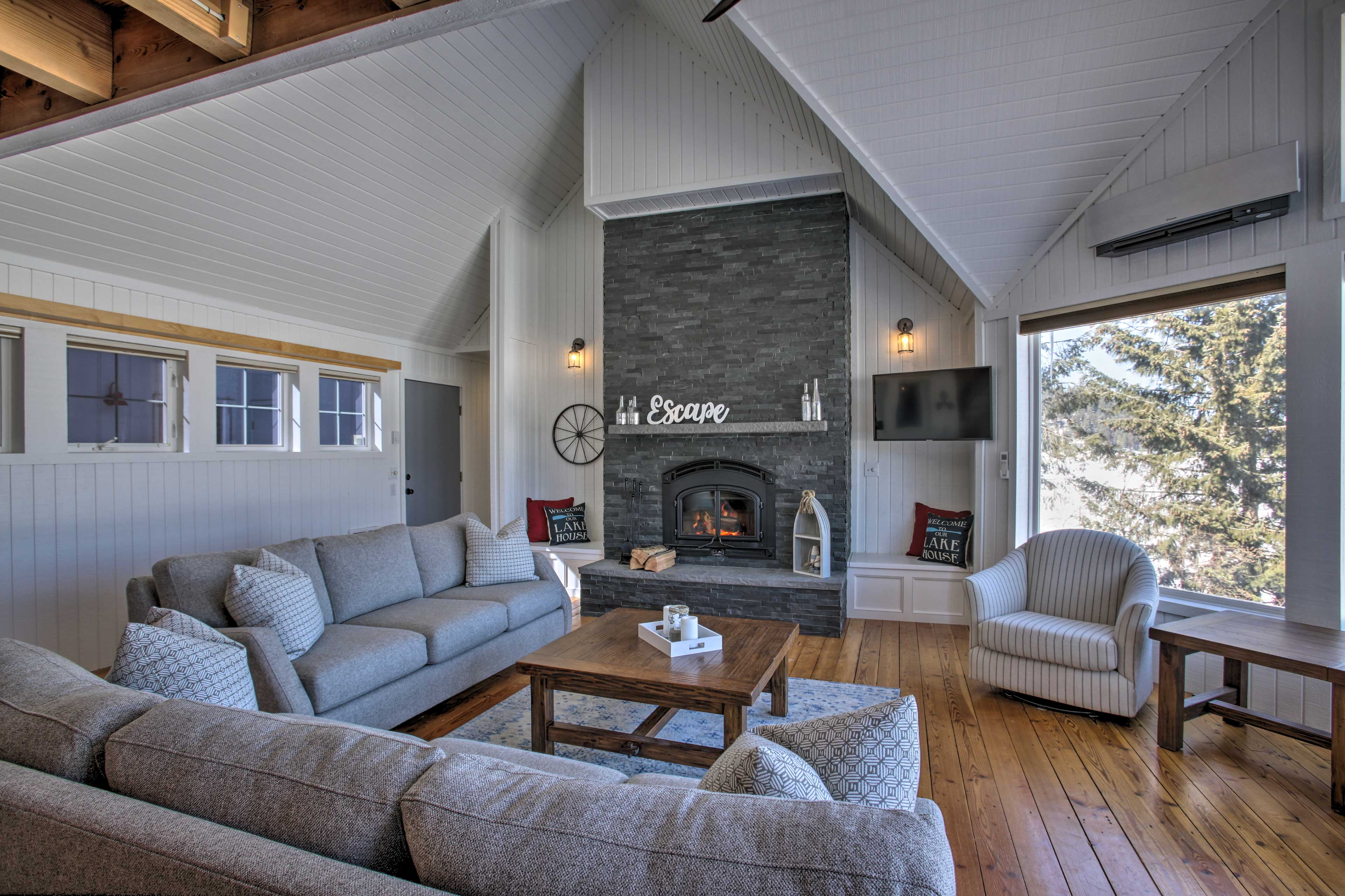 Cozy up in front of the wood-burning fireplace and Smart TV.
