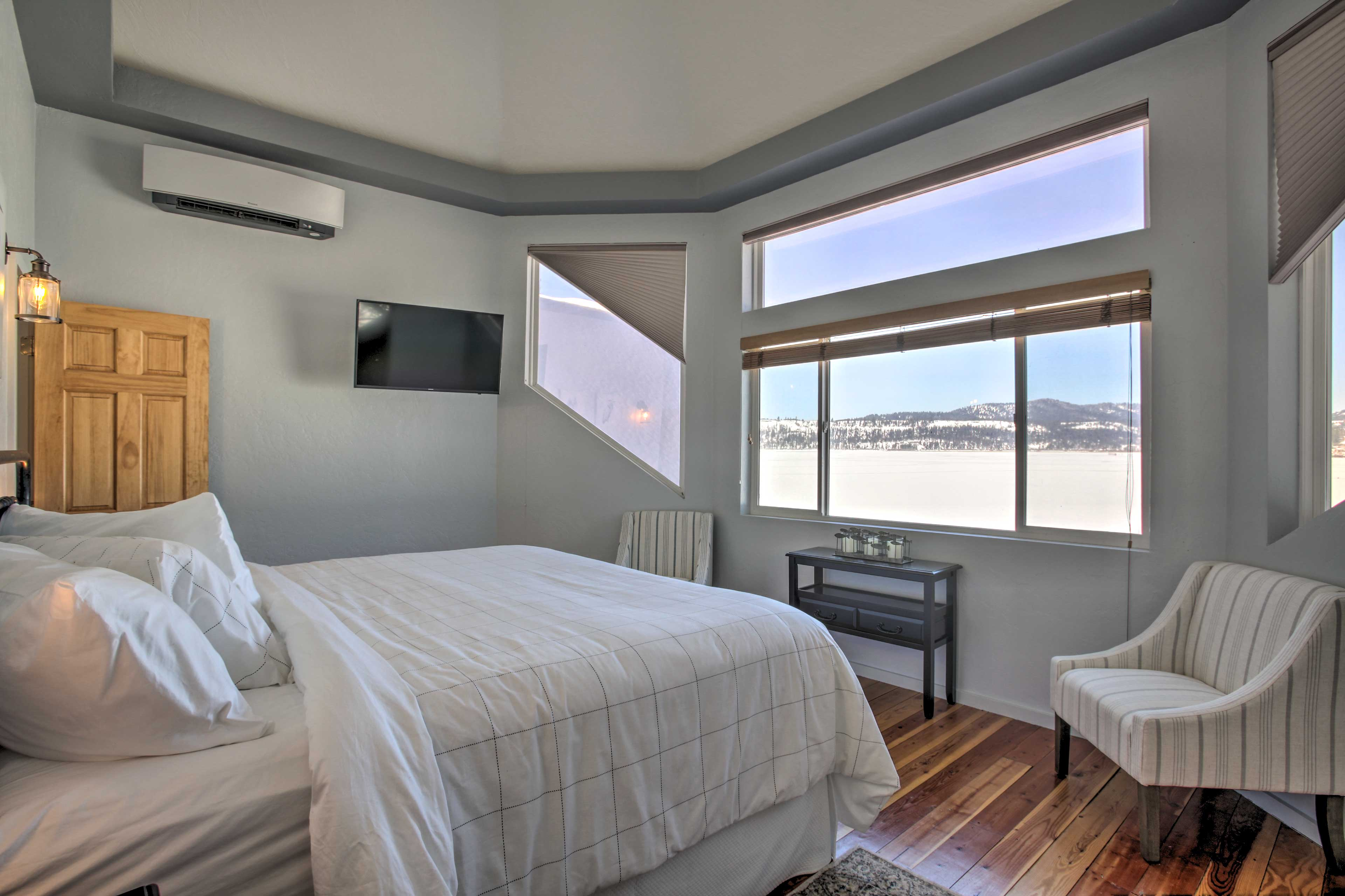 Wake to scenic views of the water.