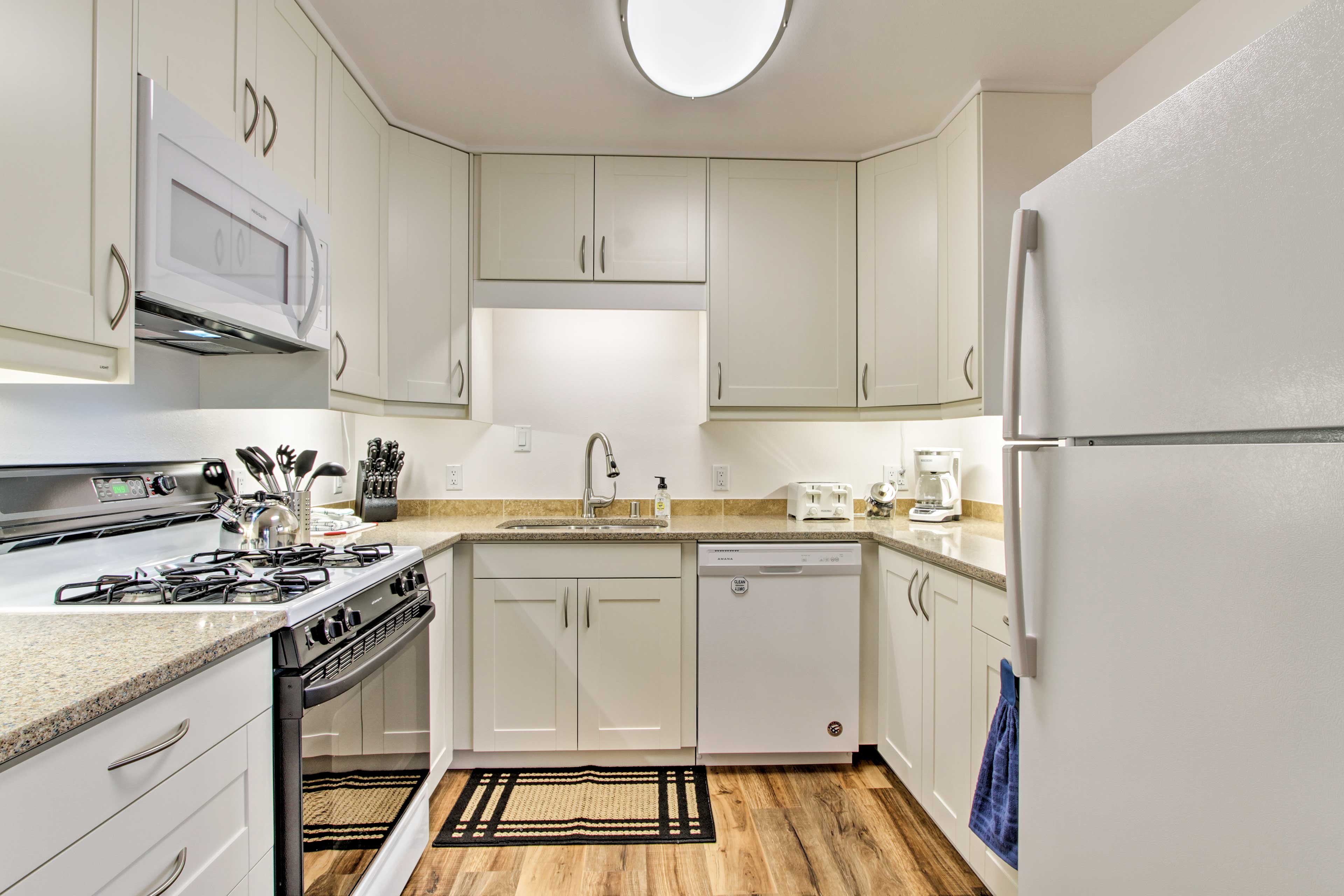 You'll have all the essential appliances and kitchenware needed.