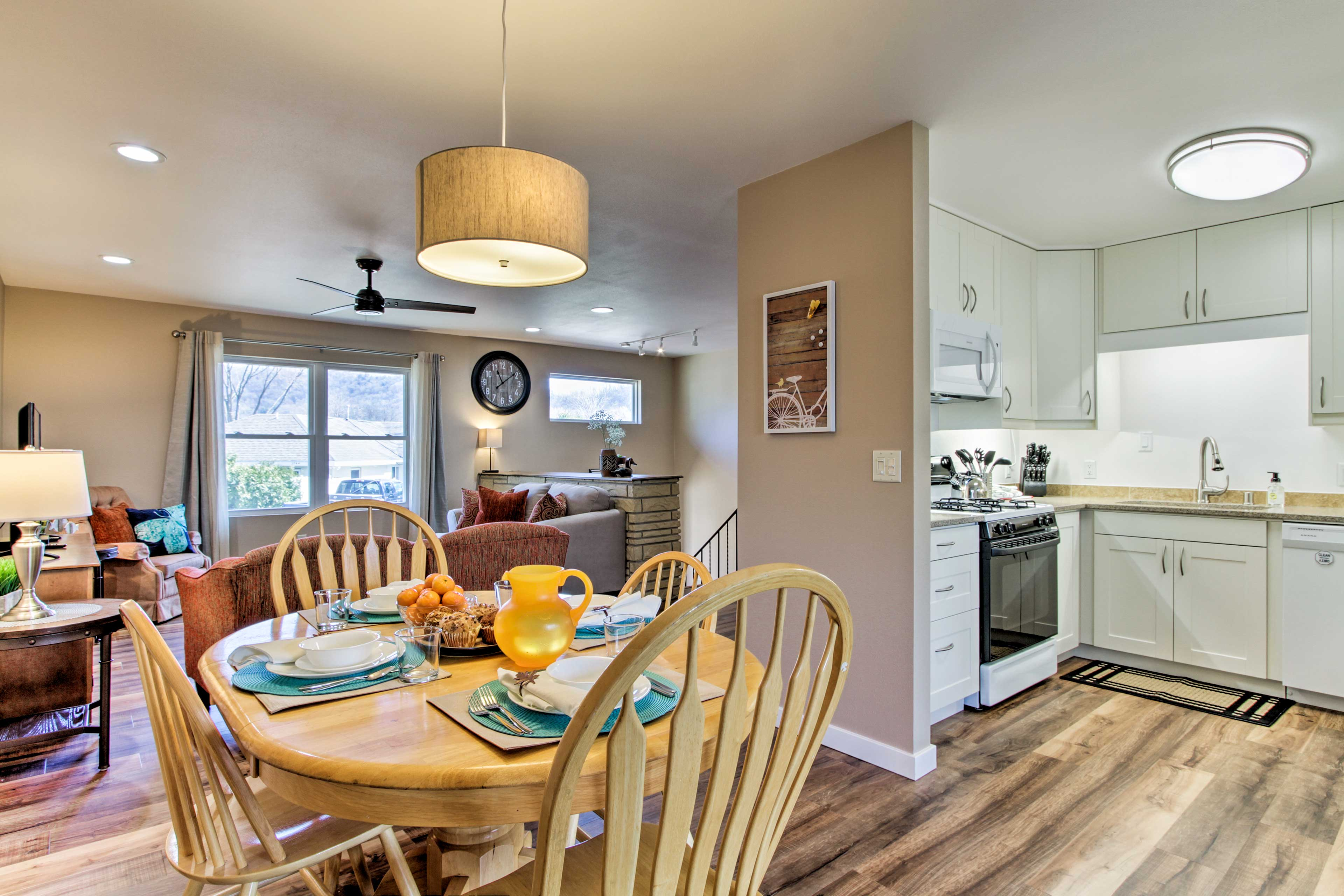 Step inside and enter the fully equipped kitchen area.