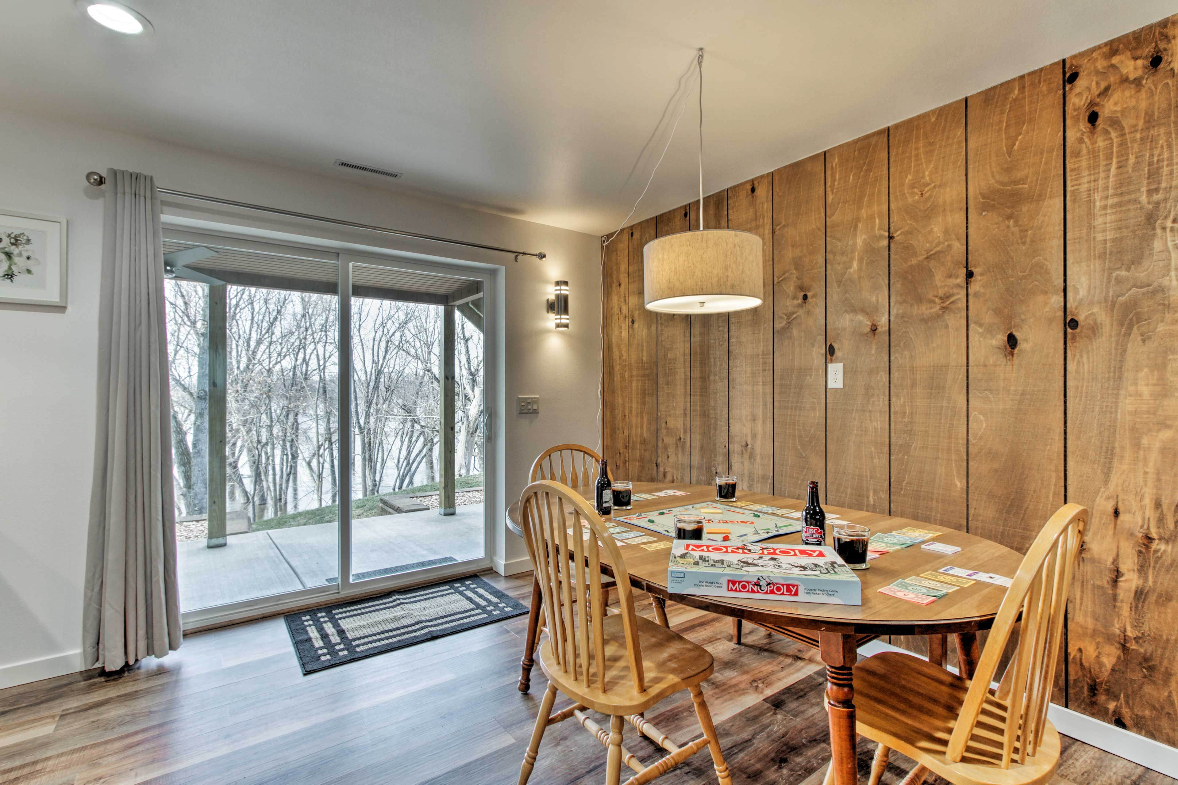 The lower level living space leads right out to the covered patio and yard.