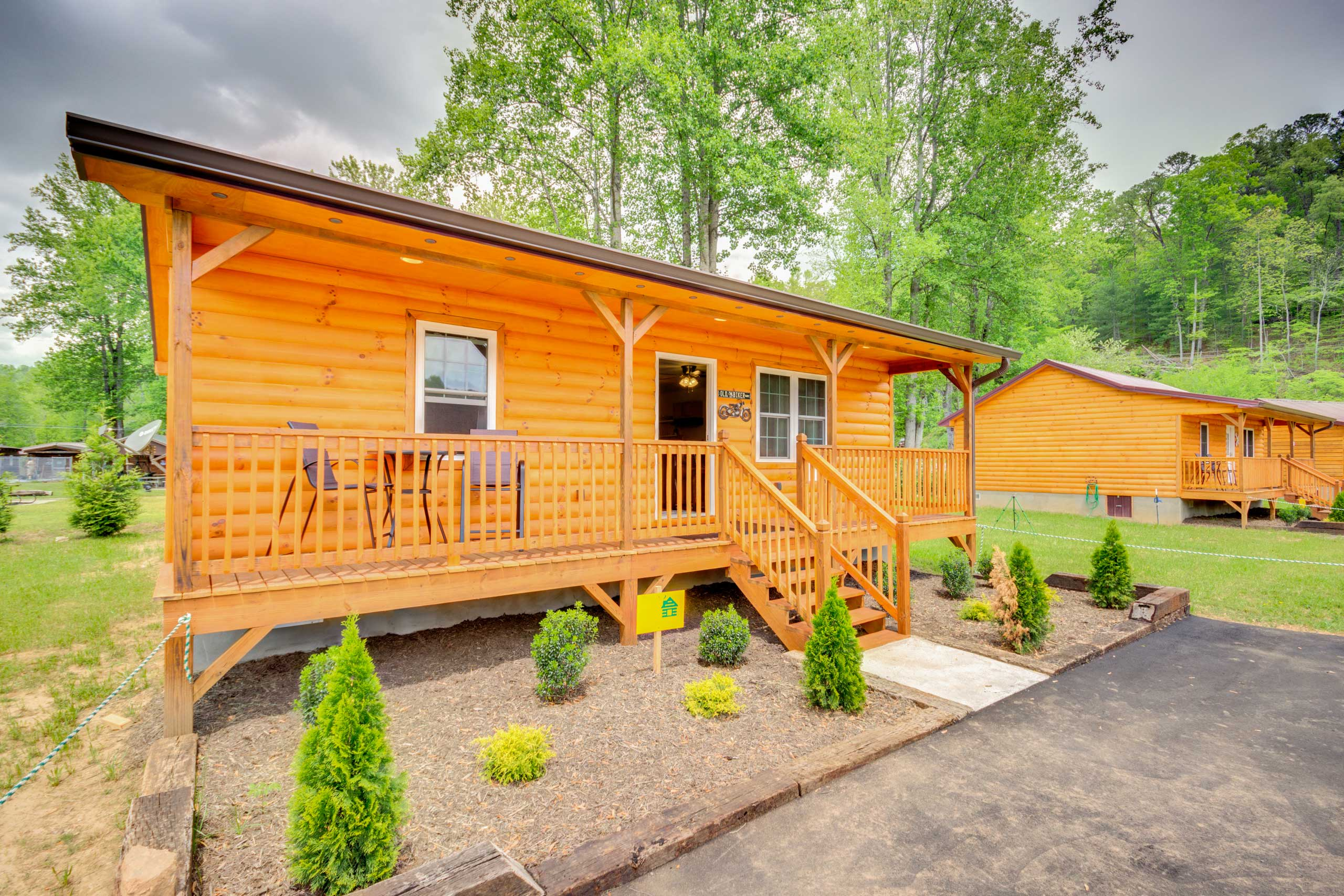 This charming cabin is located in a newly constructed neighborhood.