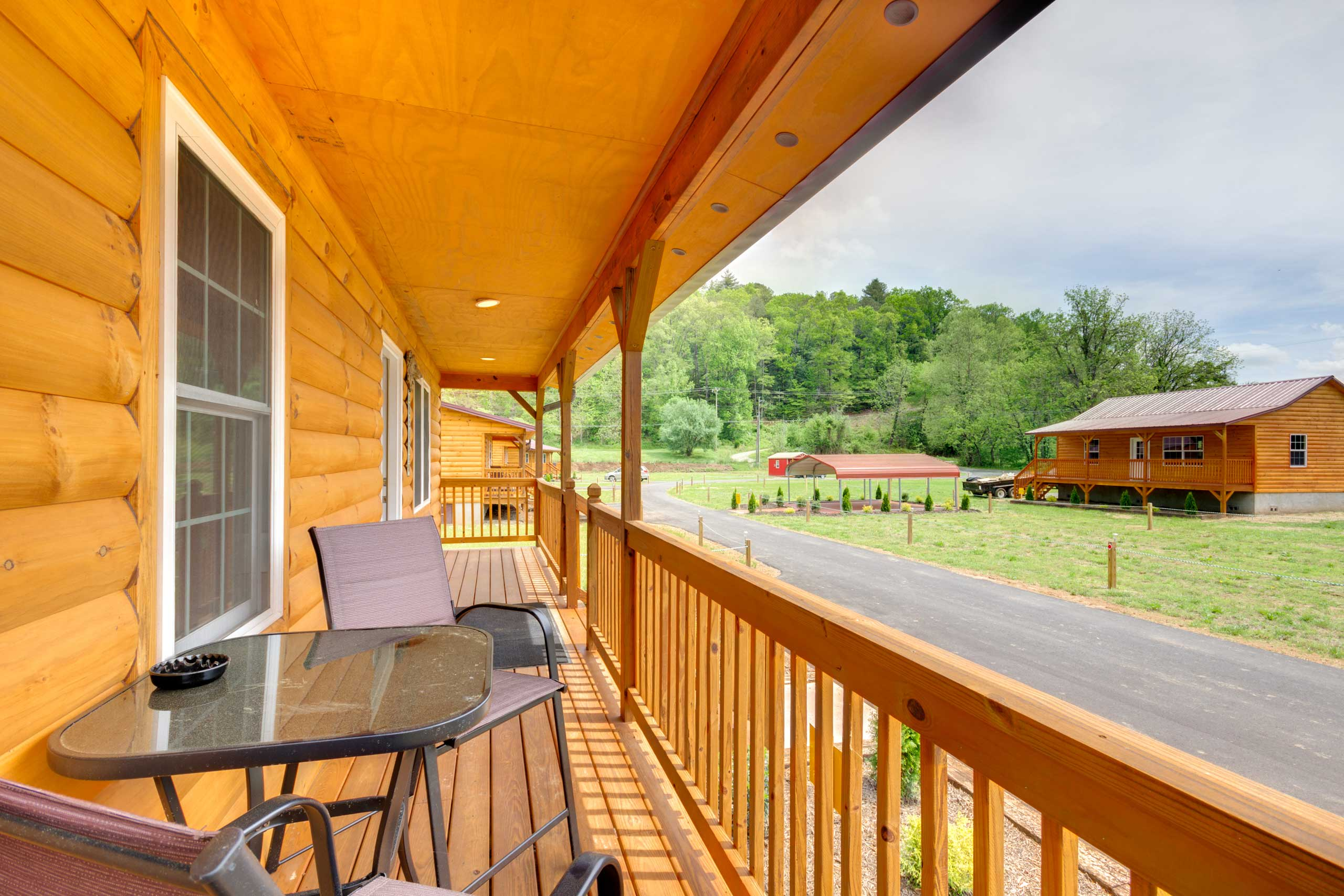 Drink morning coffee or evening cocktails out on the covered front porch!