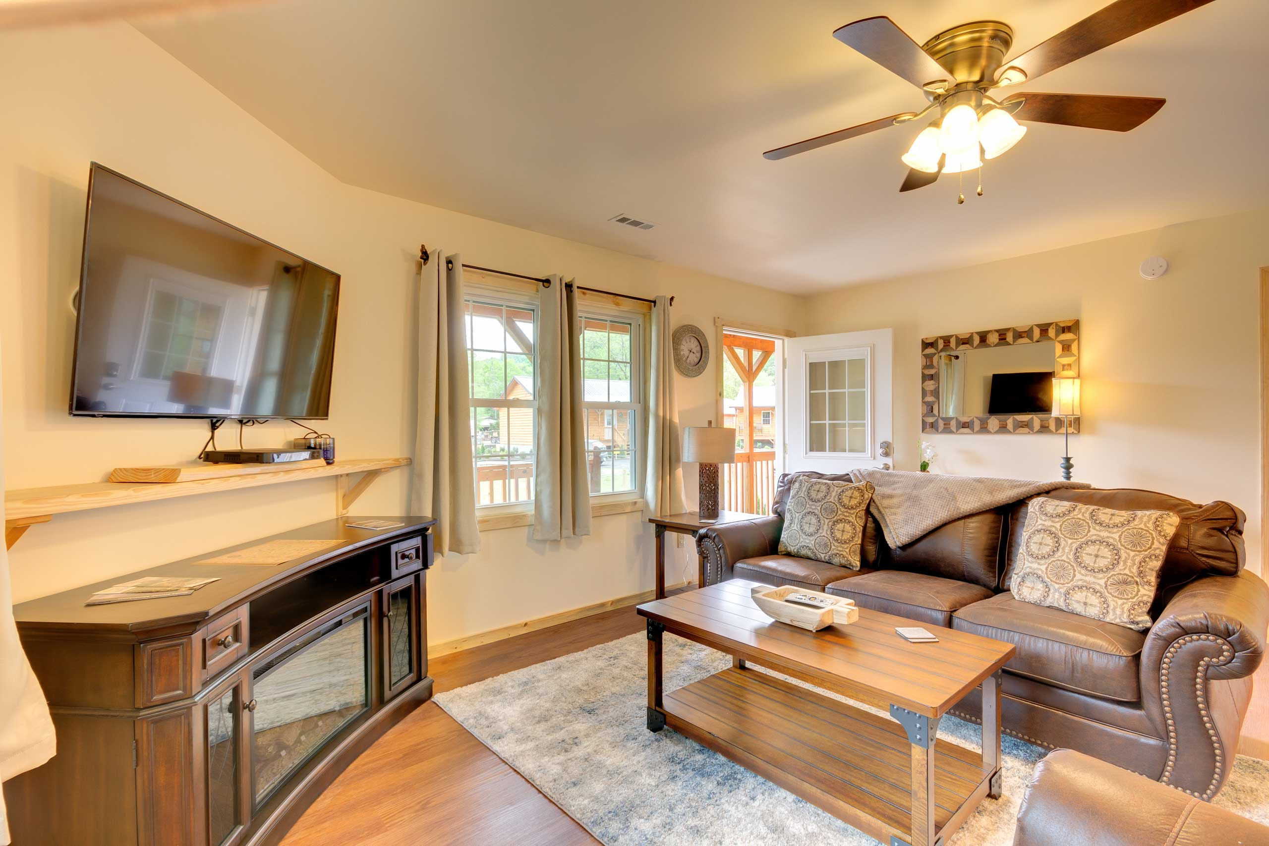 Enjoy modern conveniences including an electric fireplace and cable TV.
