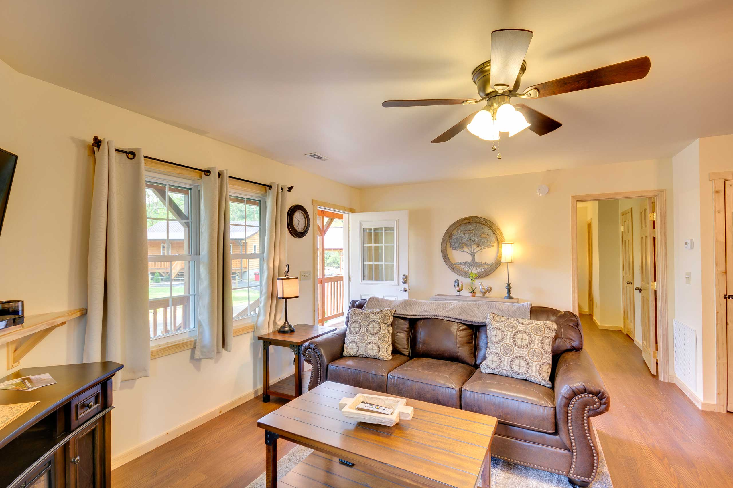 Inside, the recently renovated interior boasts a full array of modern comforts.