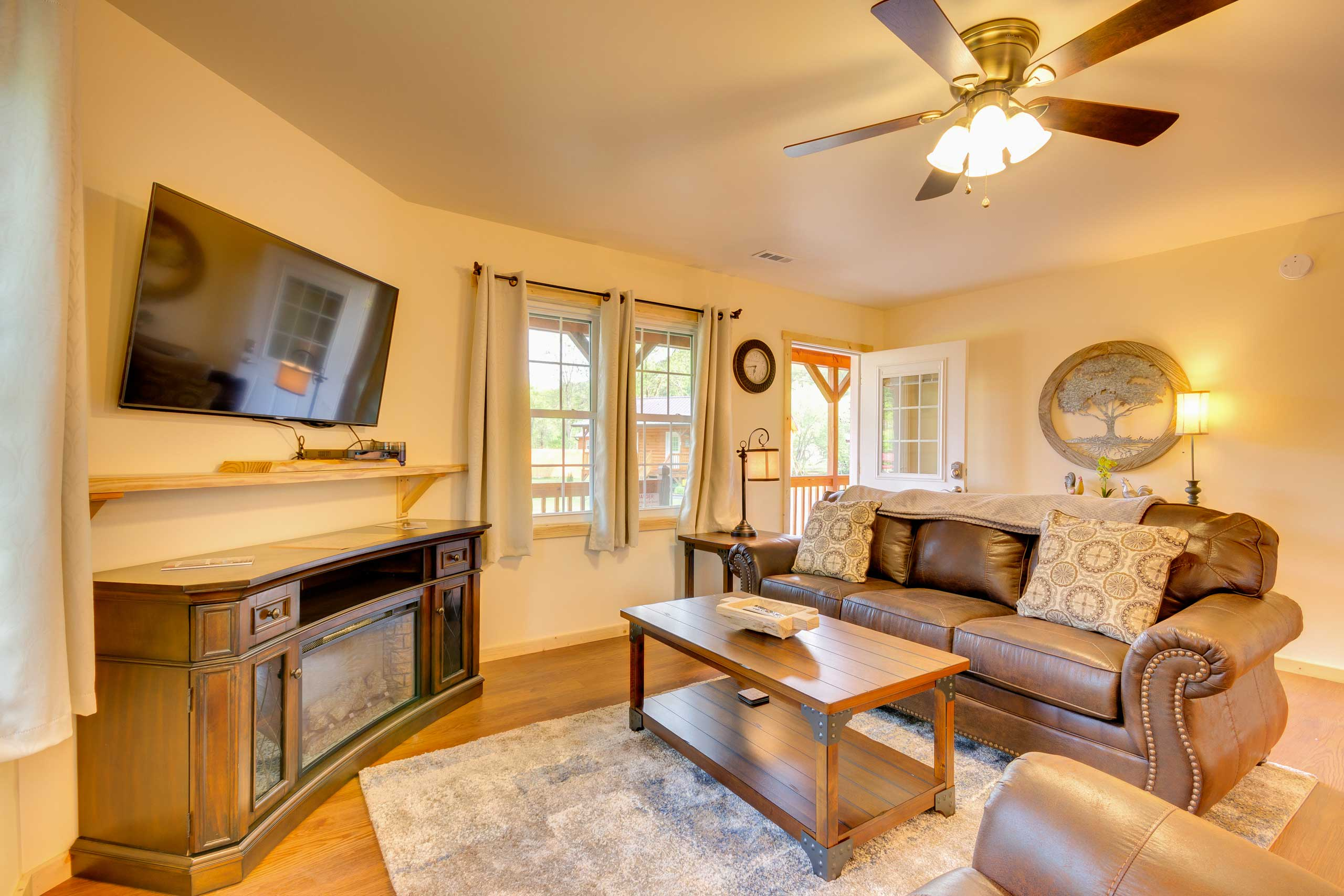 Enjoy the flat-screen cable TV and electric fireplace while you unwind.