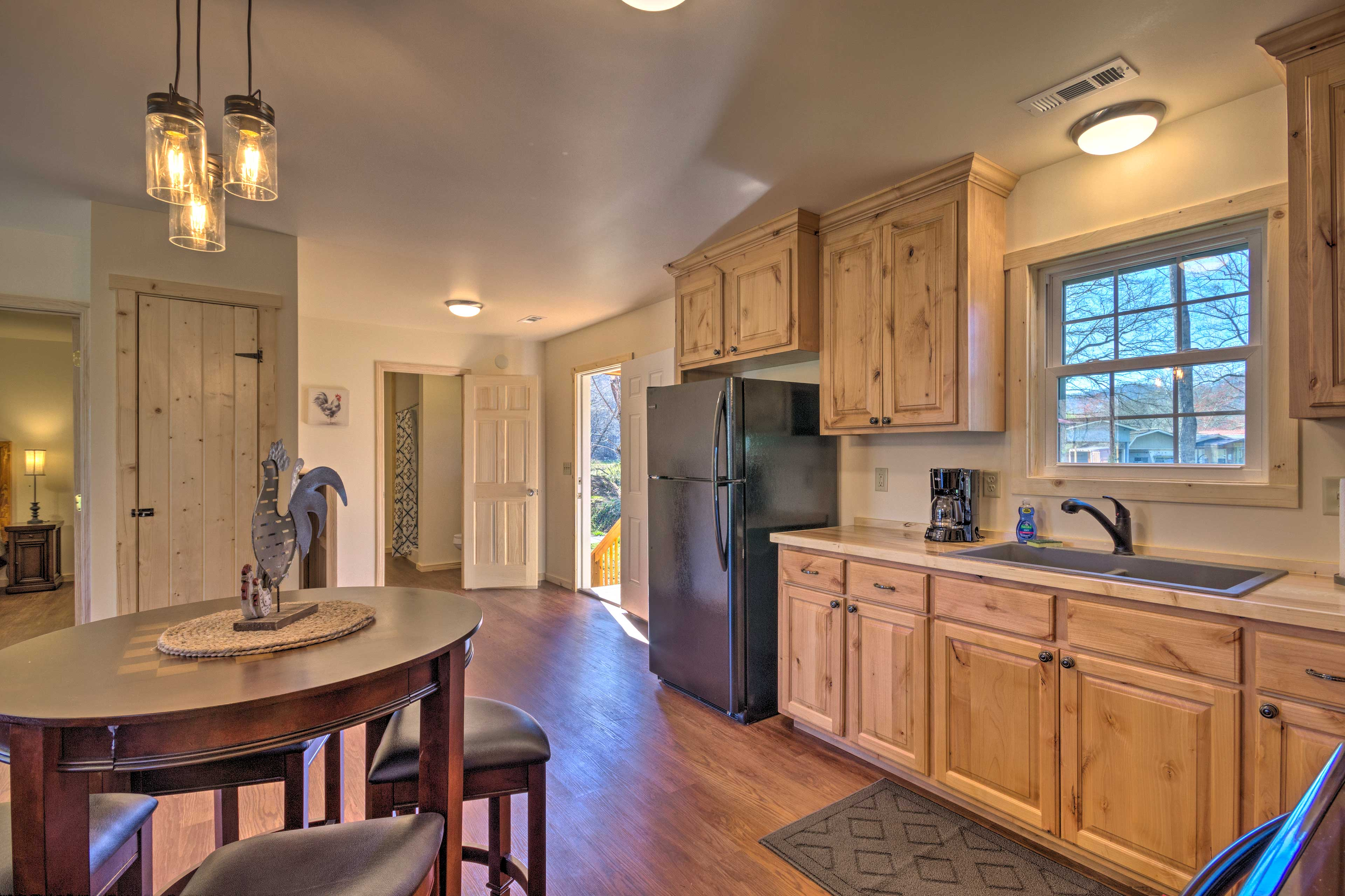 The kitchen is well-equipped and boasts ample storage space.