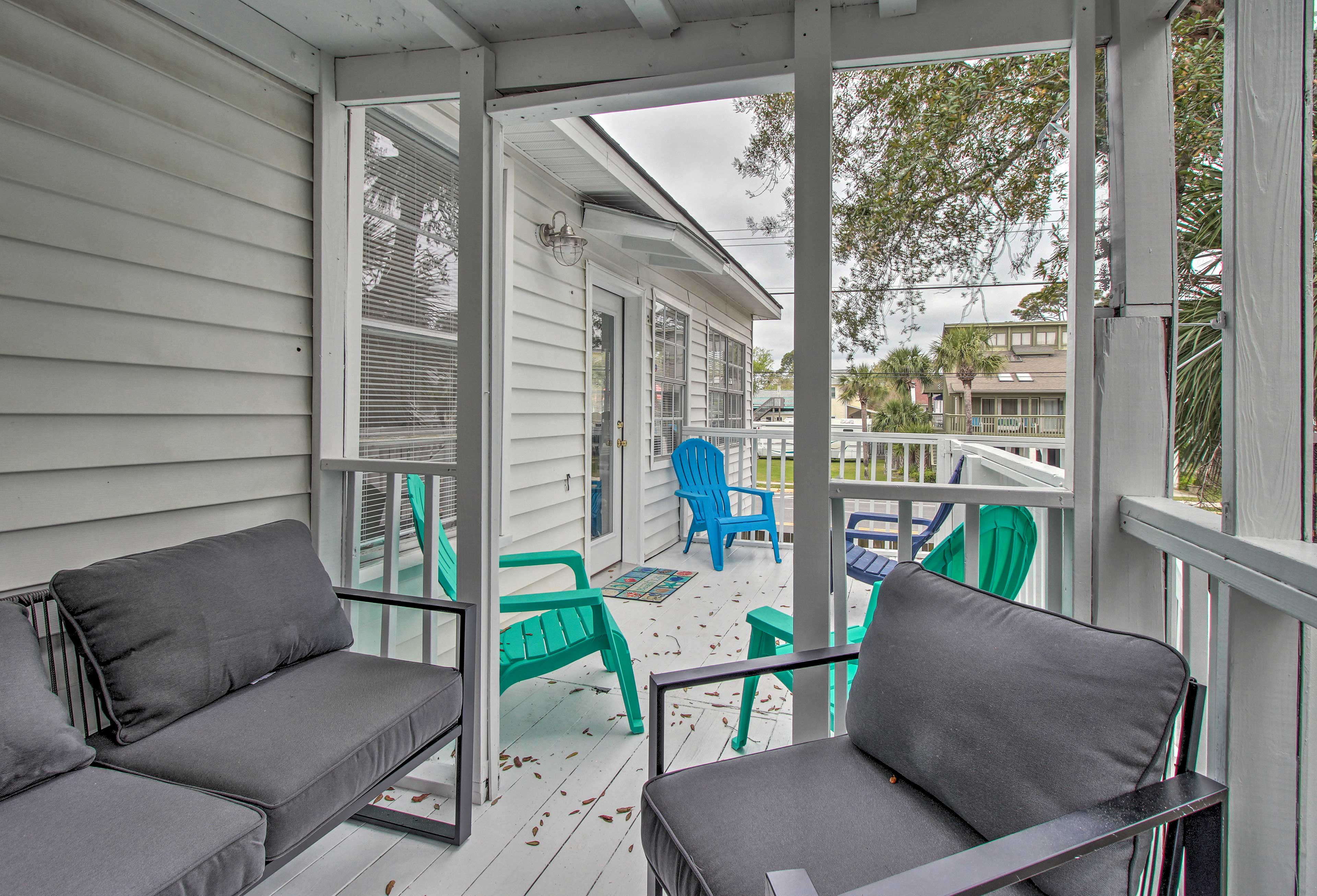 The deck is private to you during your stay.