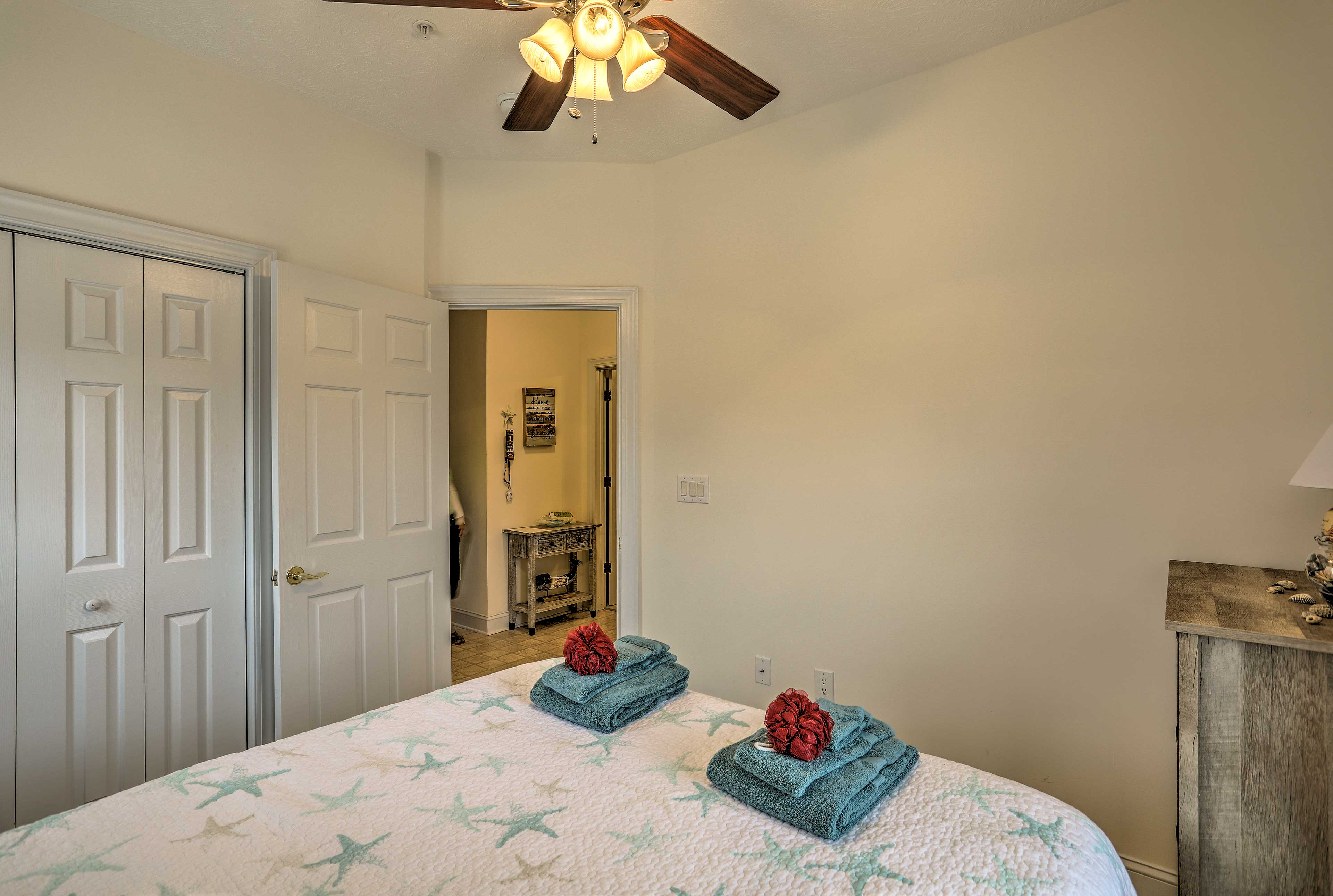 Both bedrooms offer a queen bed.