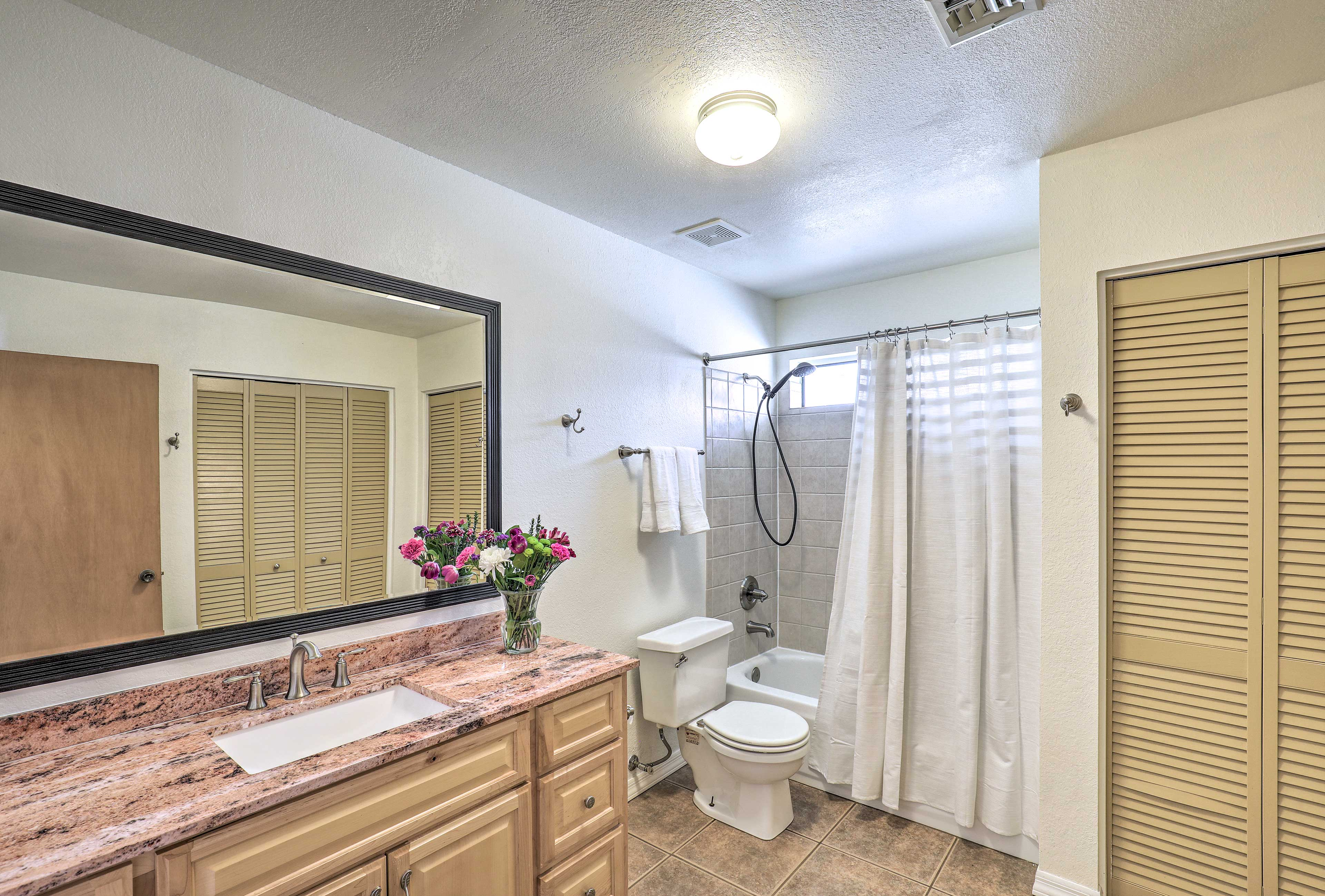 Spread your toiletries out on the spacious counter to get ready with ease.