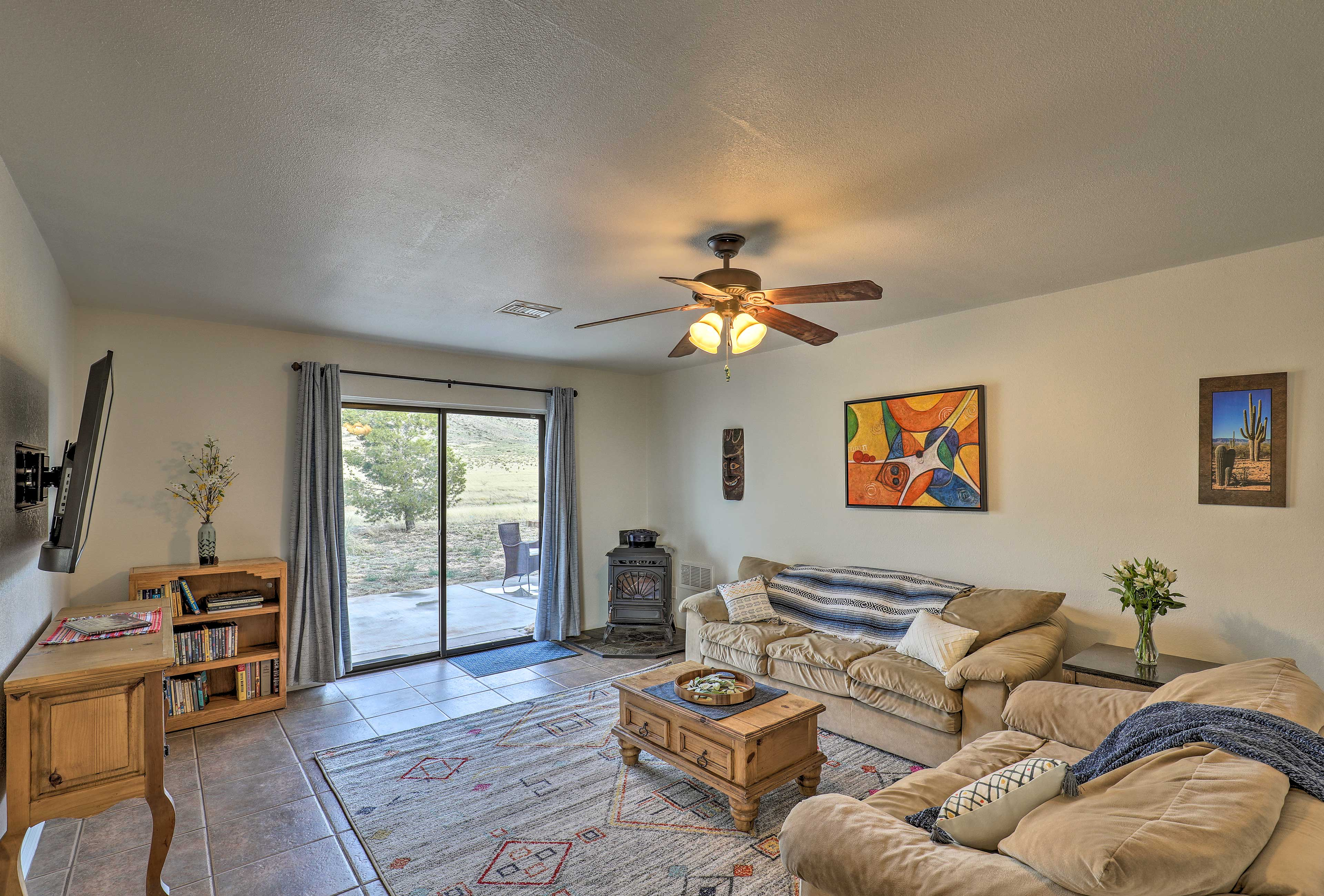 Take solace in the inviting living room after hiking or wine tasting.