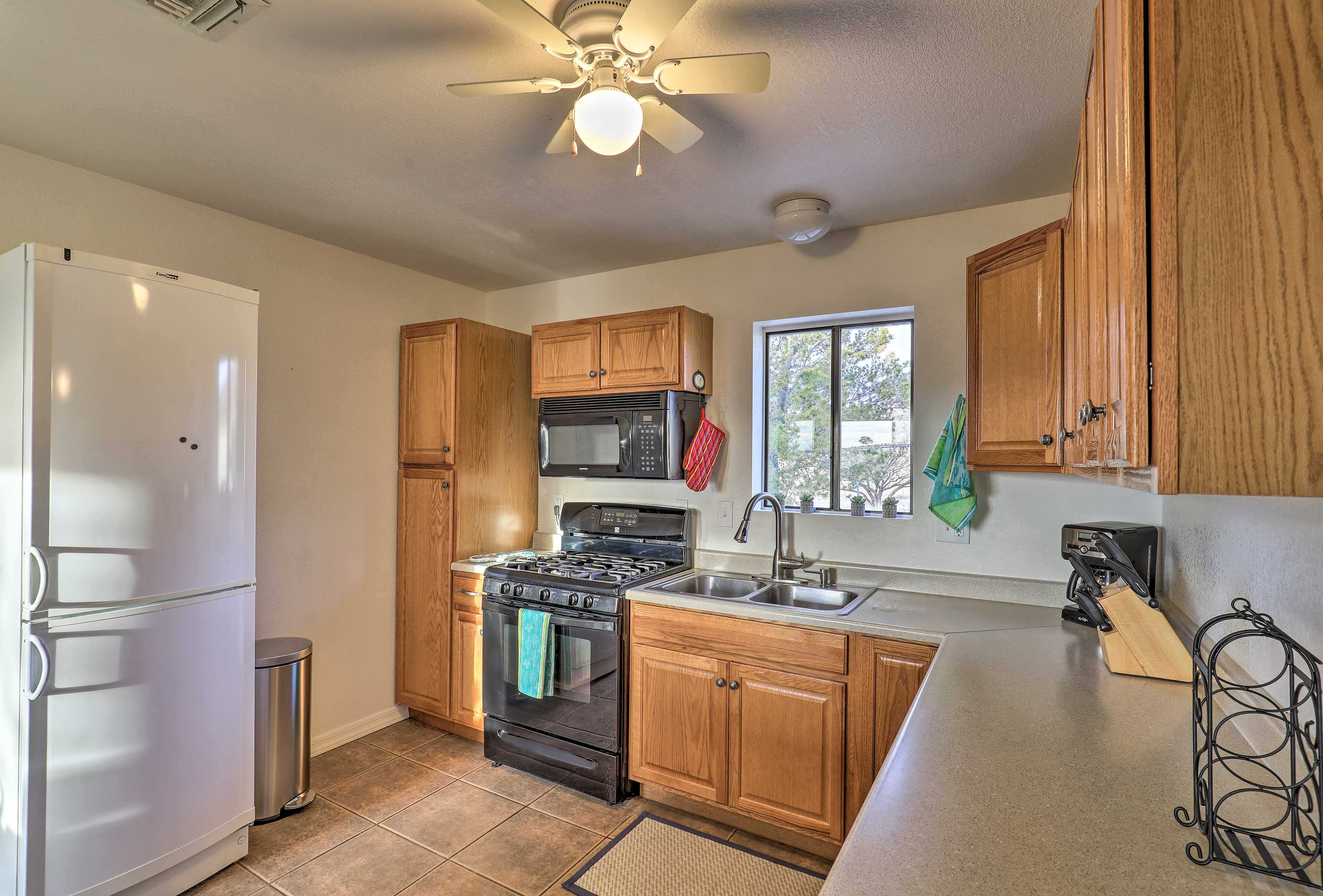 Prepare home-cooked meals in the well-equipped kitchen.